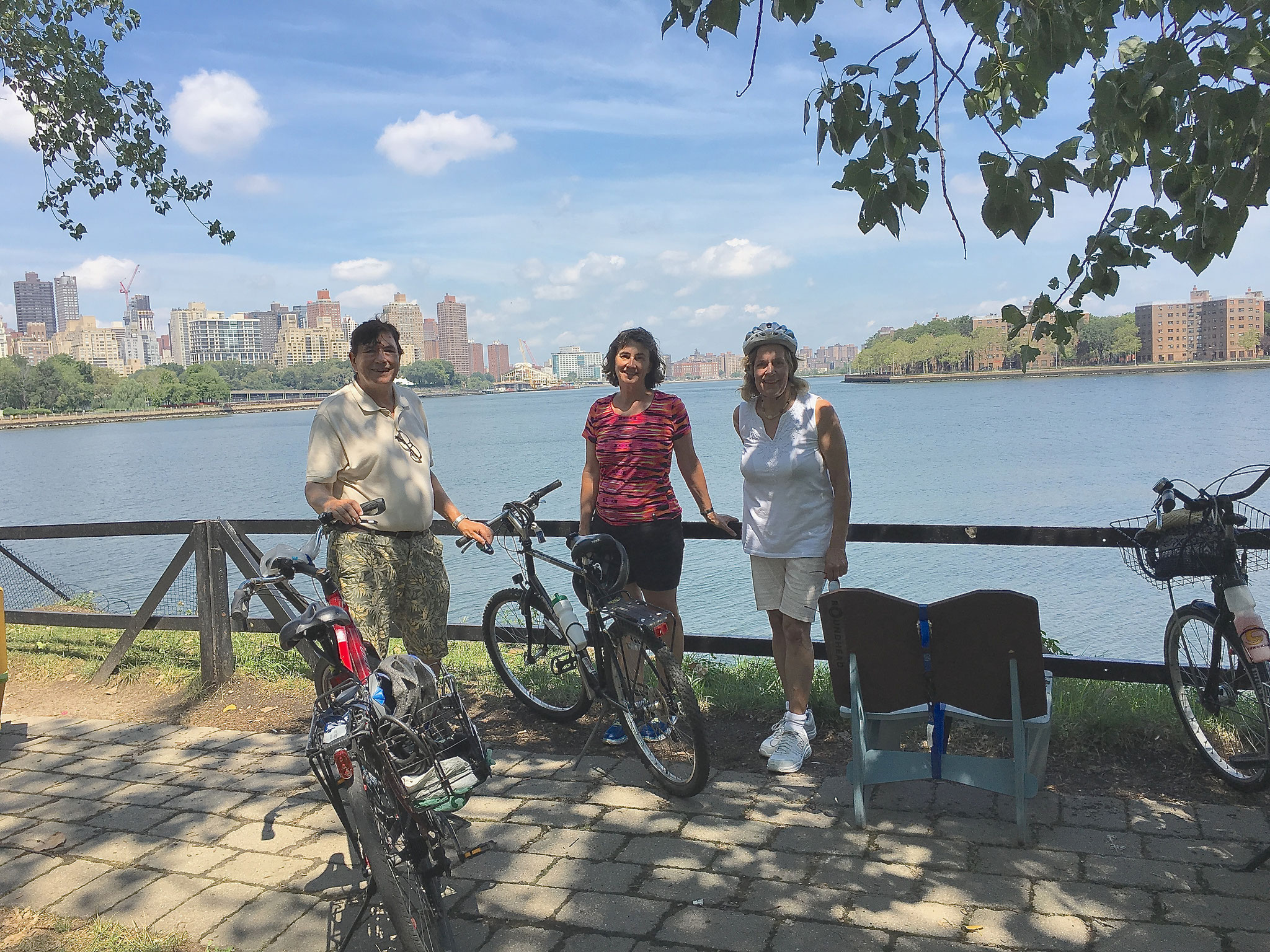 Aug. 12, 2016: John, Ann Ackerman, & Lorraine on a bike ride at Socrates Sculpture Park