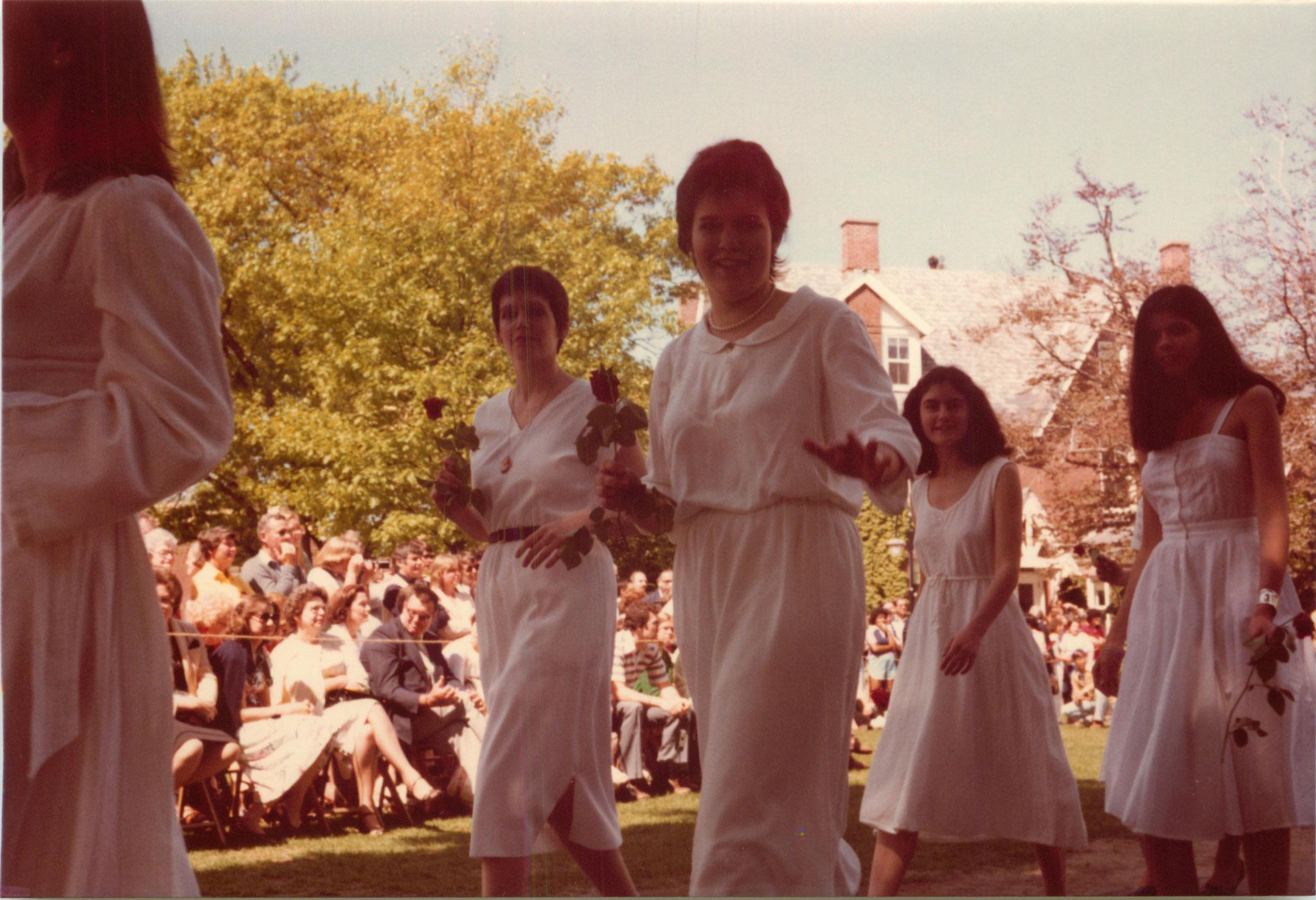 Liz and Celeste, graduation, 1980