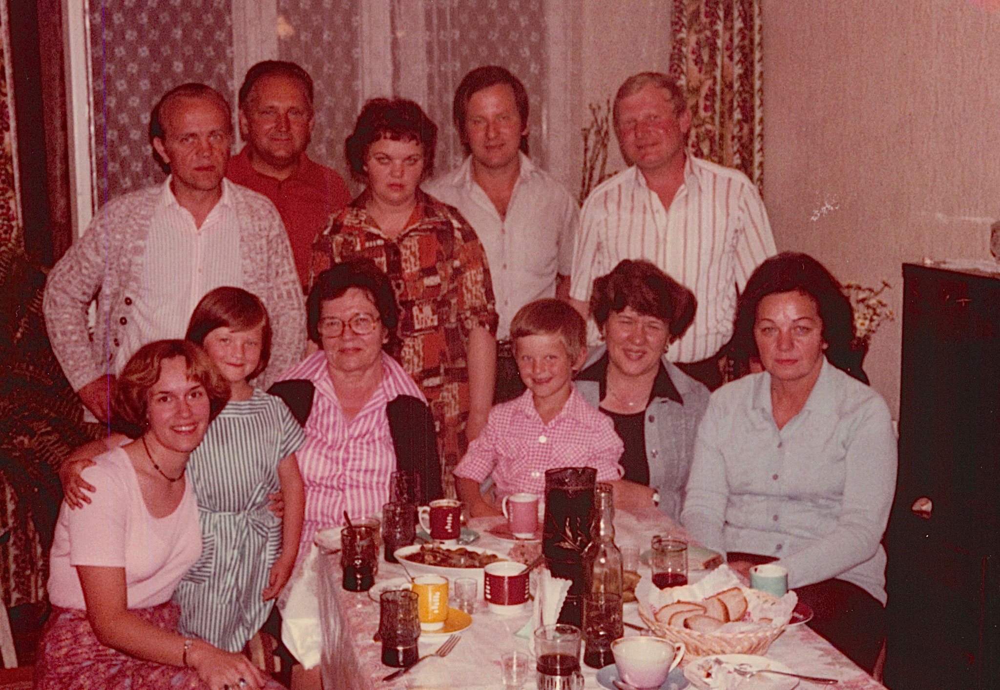 Back: Neighbor, father of Stanley's wife; Halina (Stanley's wife), Stanley (Walter's son), & Genek  Front:  Lorraine Gudas, Margaret, Mayme, Adam, Eleanor, Stanley's mother-in-law.