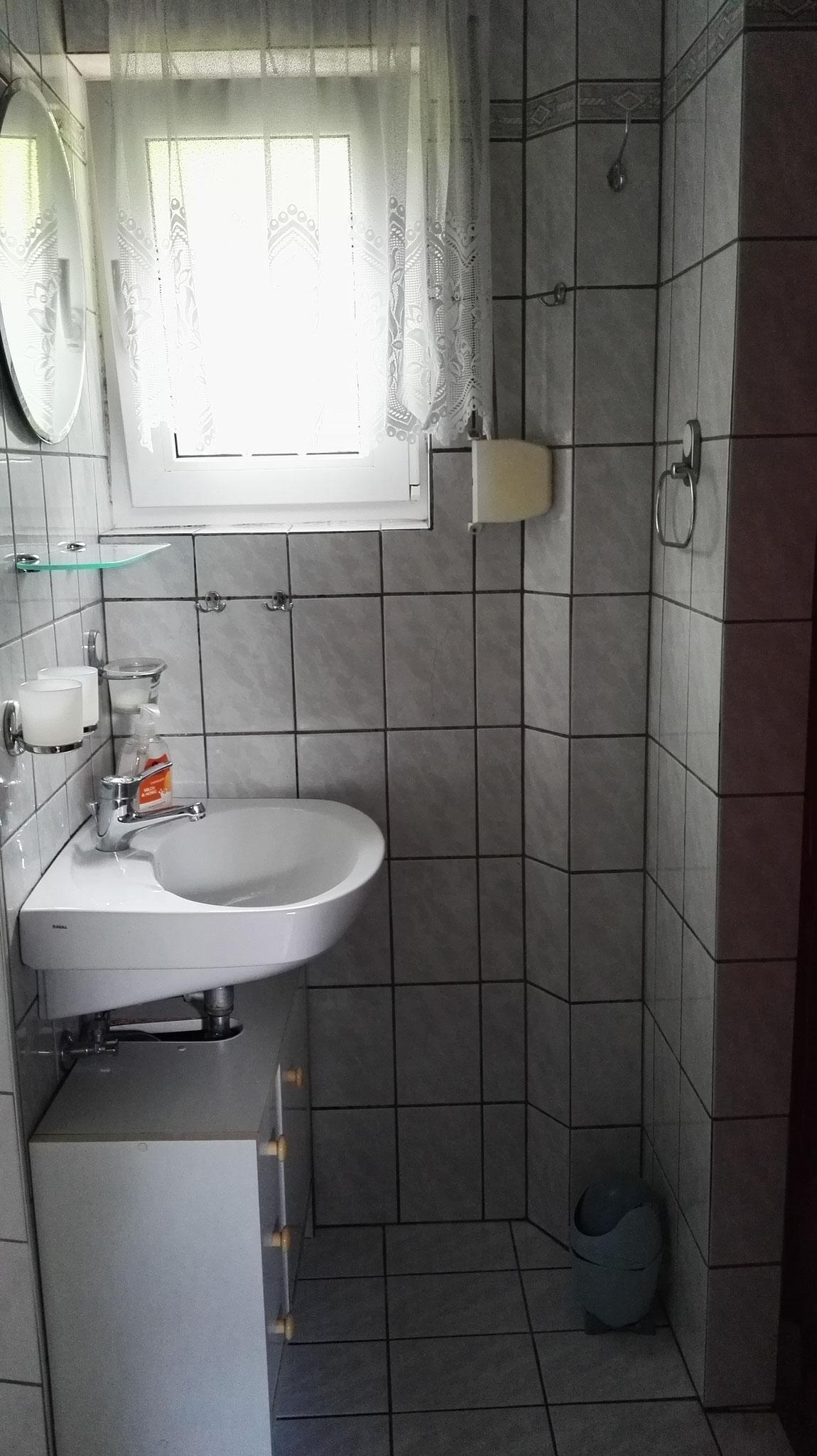 Im Erdgeschoß befindet sich die Toilette und eine Dusche.
