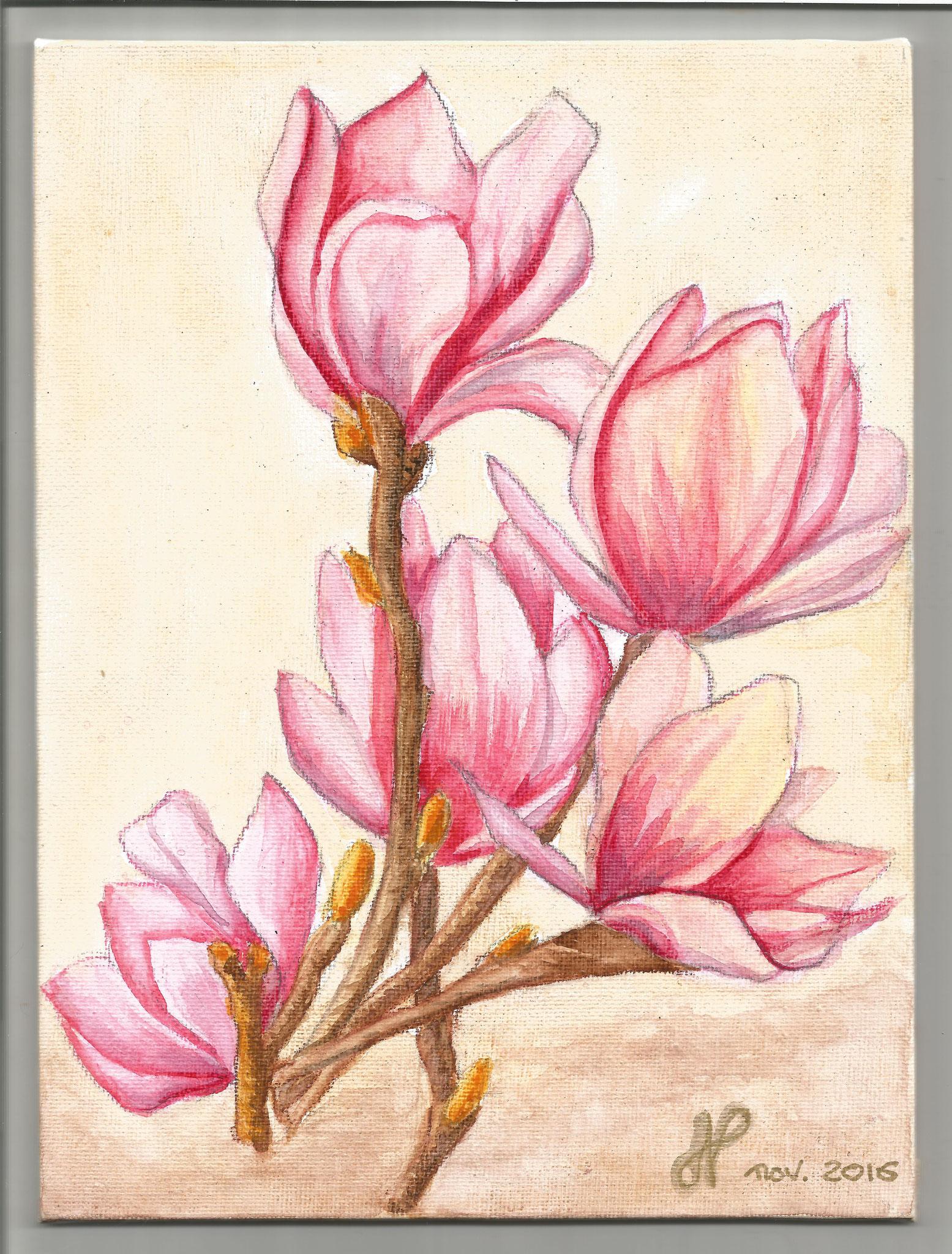Tulipiers aquarelle sur toile nov 2016 Tatiana