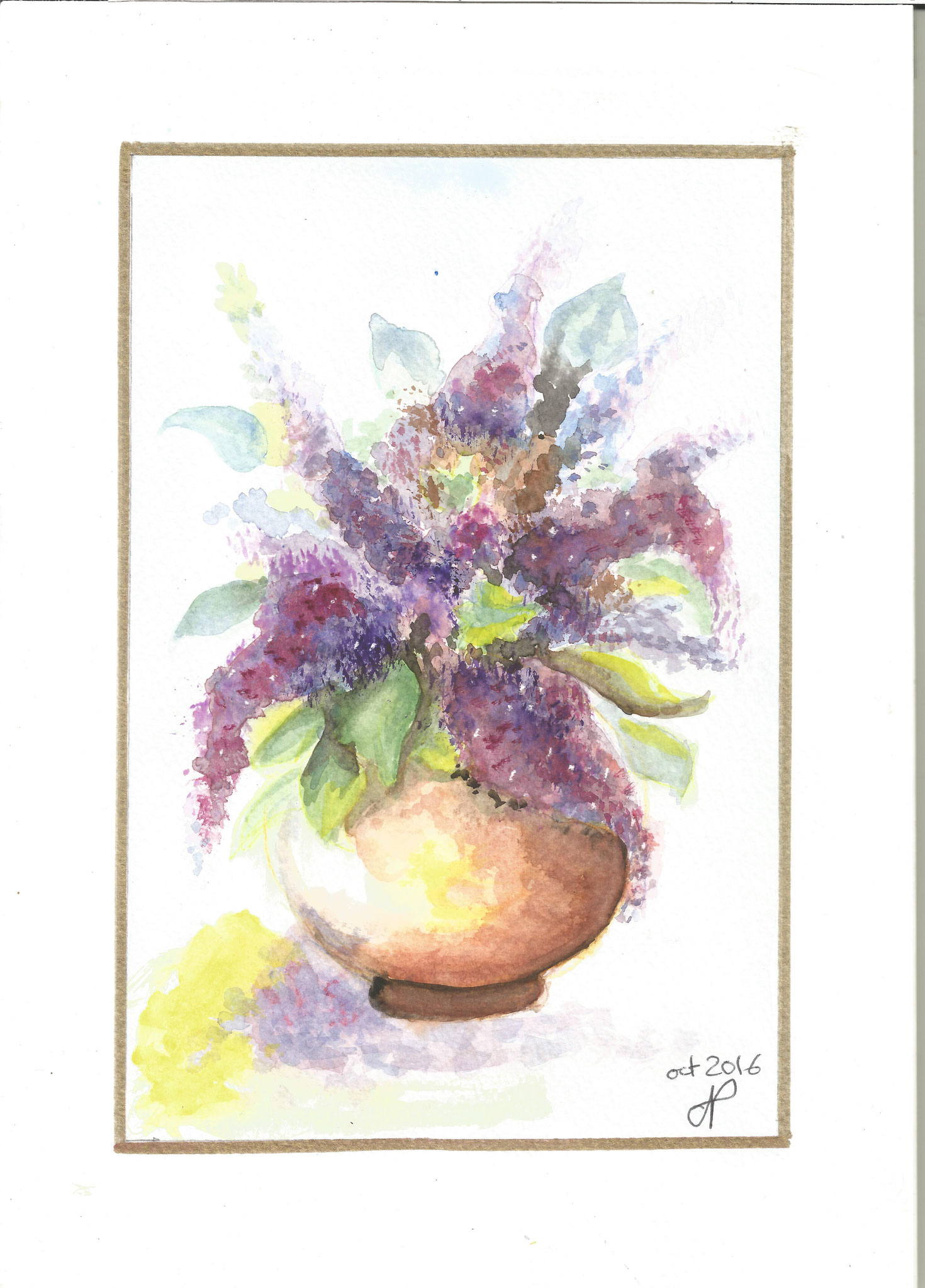 Bouquet mauve aquarelle oct 2016 Janine