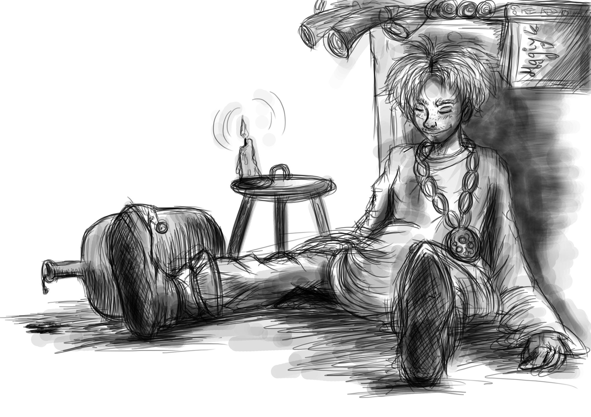 Character sketch: Fridolin – The magic's apprentice (Adobe Photoshop)