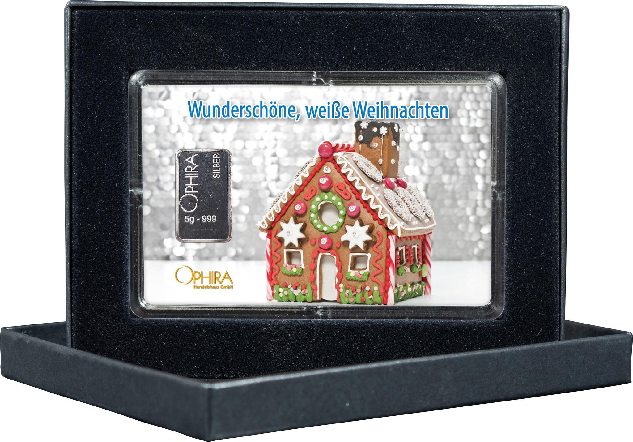 Geschenkbarren Weihnachten mit einem Silberbarren in edlem Etui