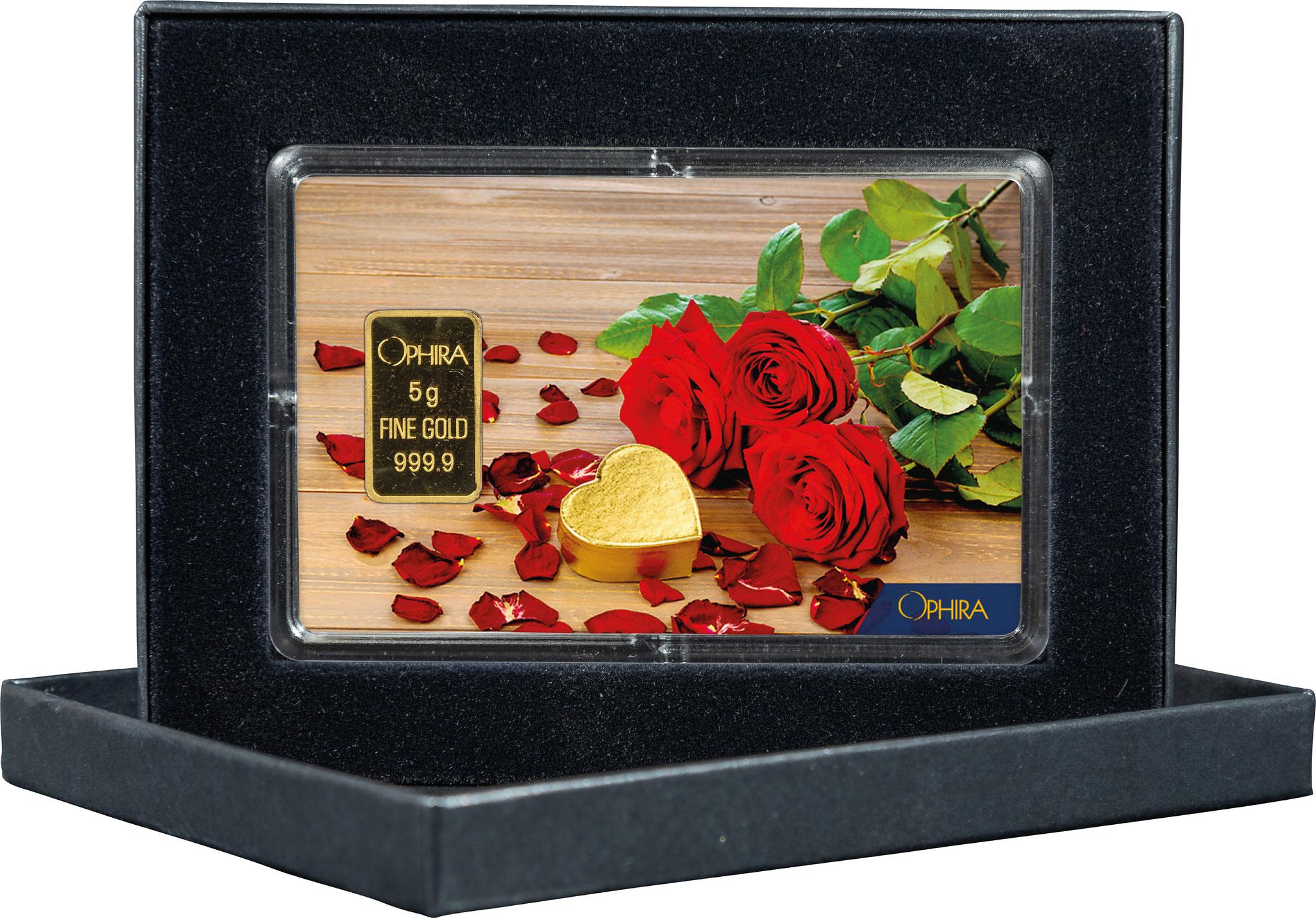 Geschenkbarren Valentinstag Geburtstag mit einem Goldbarren in edlem Etui