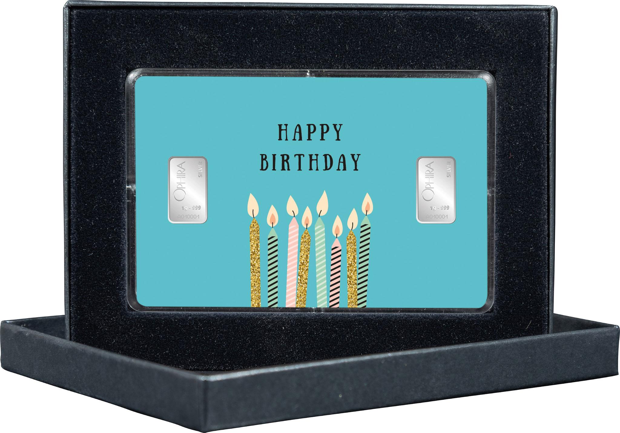 Geschenkbarren Happy Birthday mit zwei Silberbarren