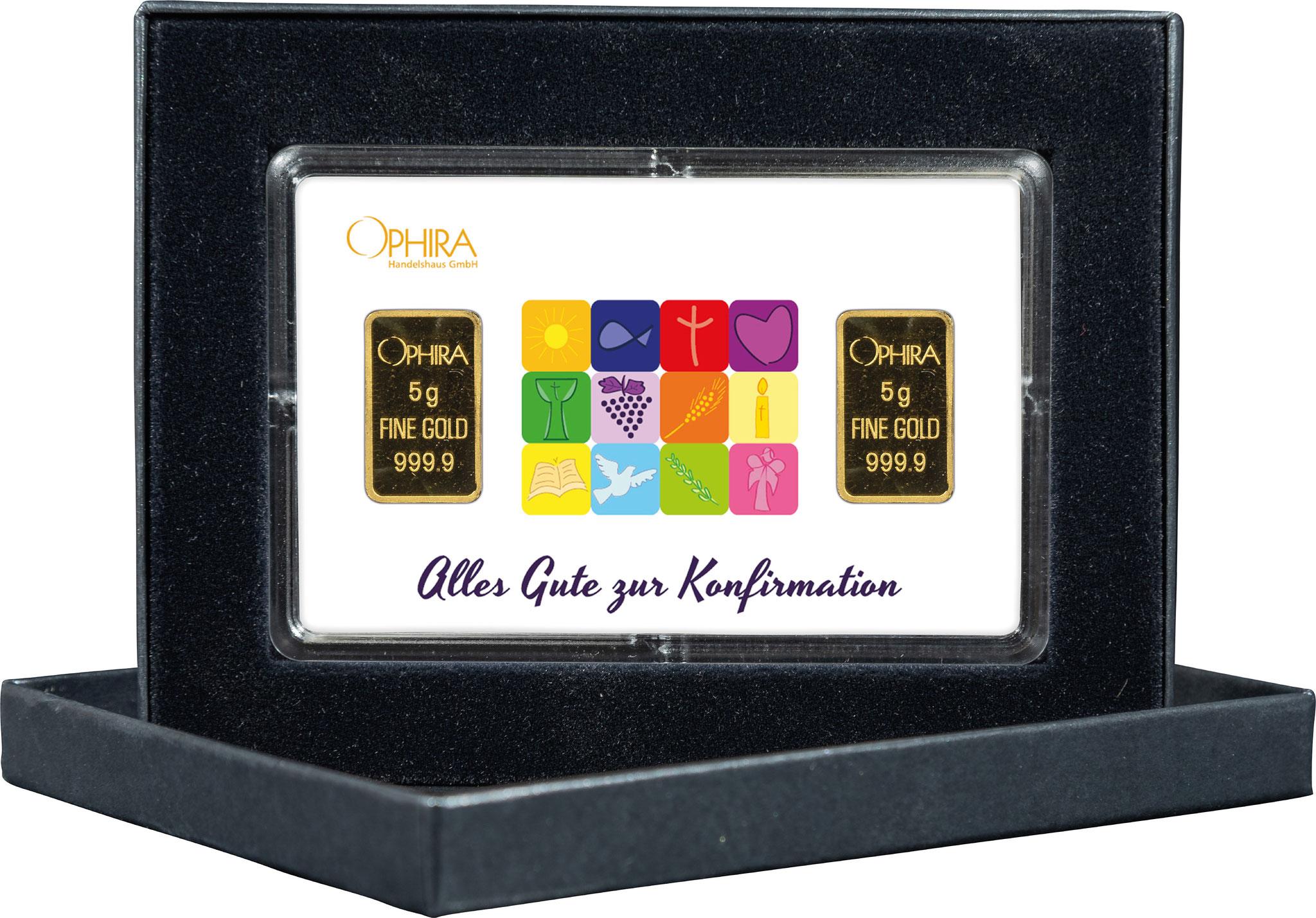Geschenkbarren Konfirmation mit zwei Goldbarren in edlem Etui
