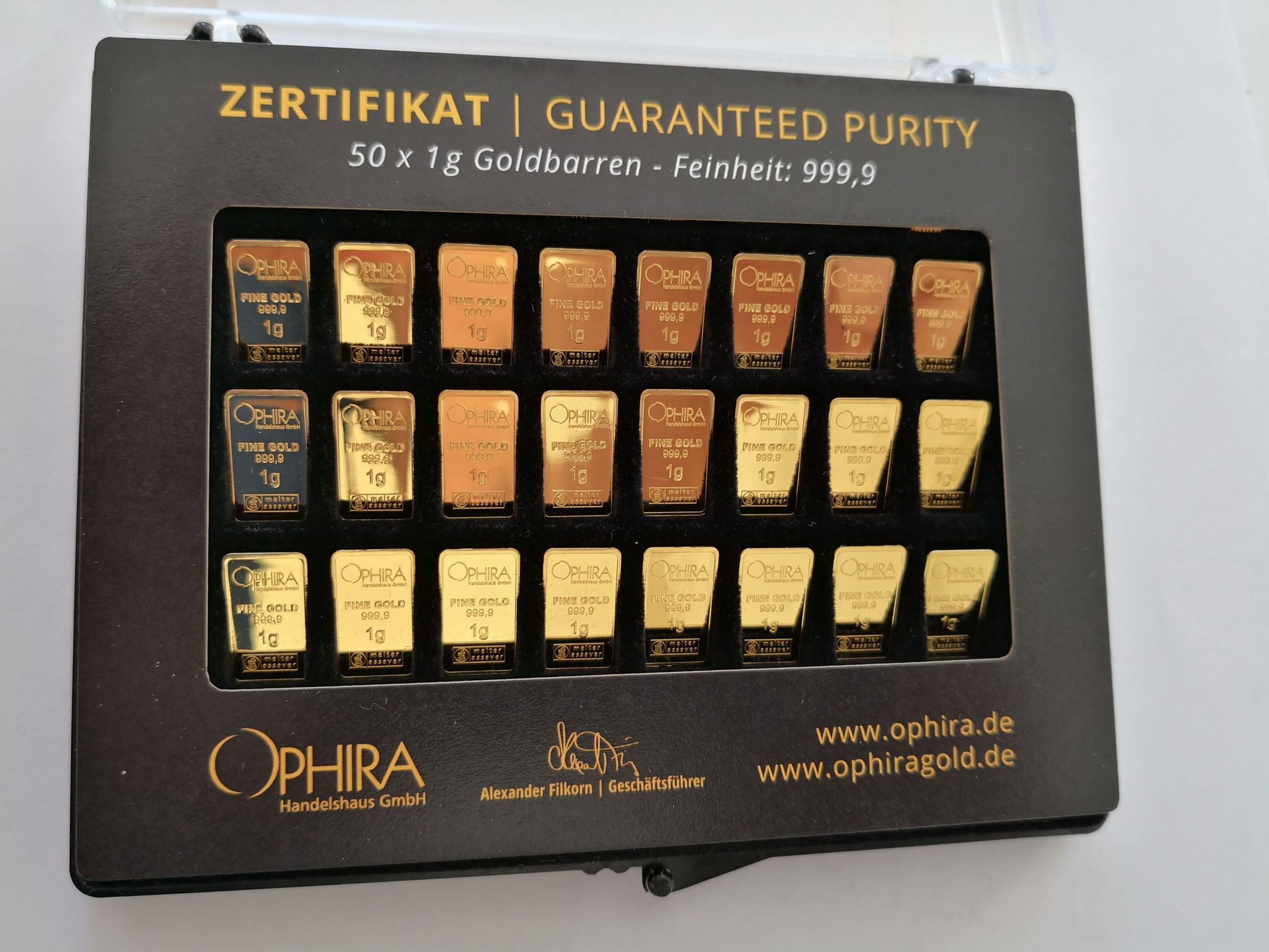 Unity Bars 50 mal 1 g Ophira Goldbarren