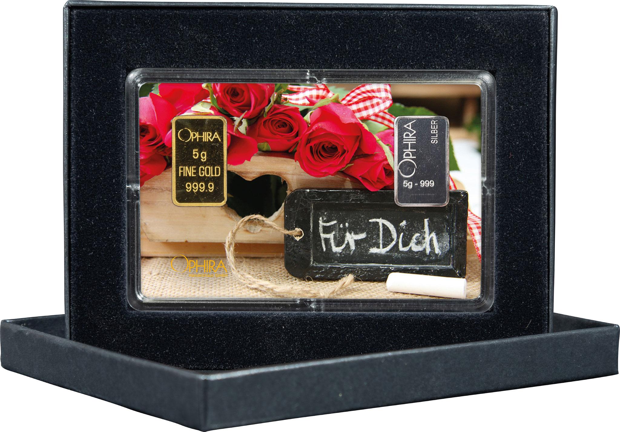 Geschenkbarren Valentinstag Geburtstag Muttertag mit einem Gold- und Silberbarren in edlem Etui