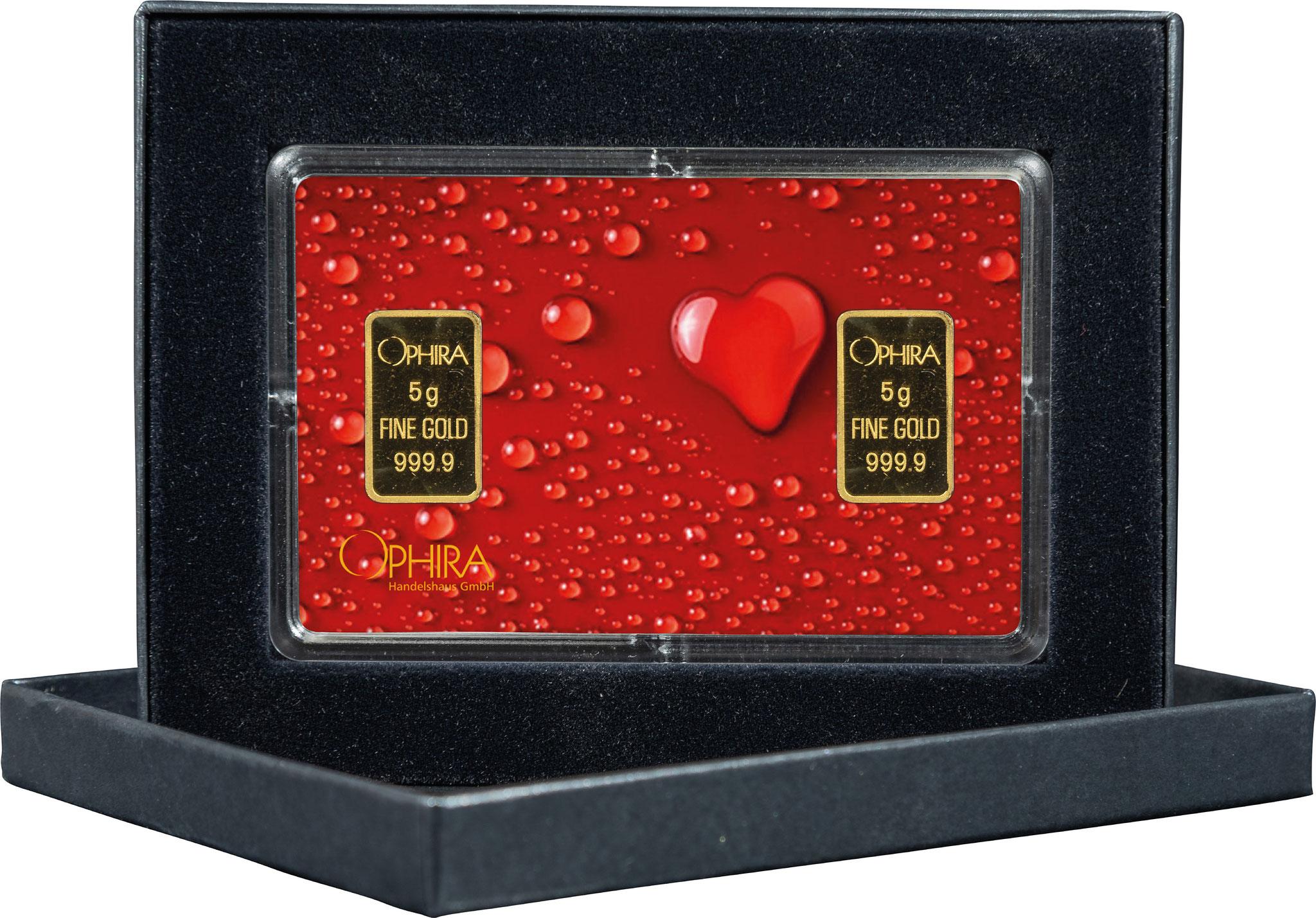 Geschenkbarren Valentinstag mit zwei Goldbarren in edlem Etui