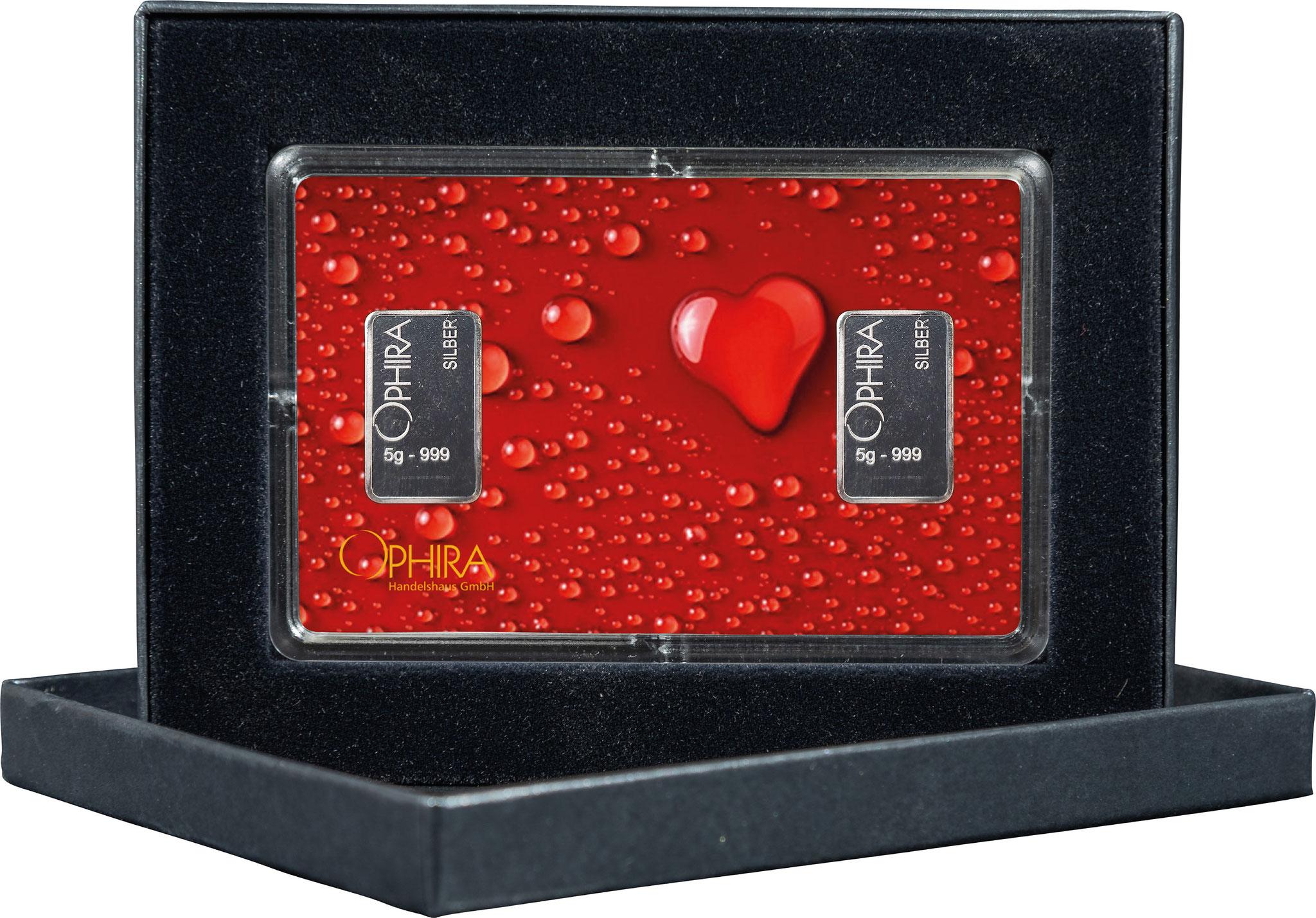 Geschenkbarren Valentinstag mit zwei Silberbarren in edlem Etui