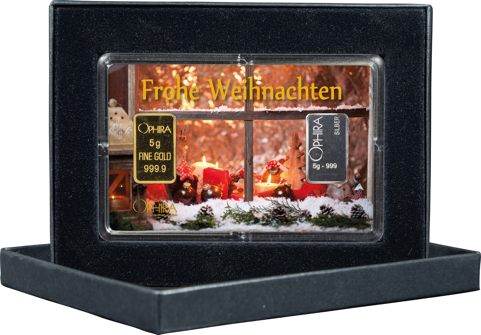 Geschenkbarren Weihnachten mit einem Gold- und Silberbarren in edlem Etui