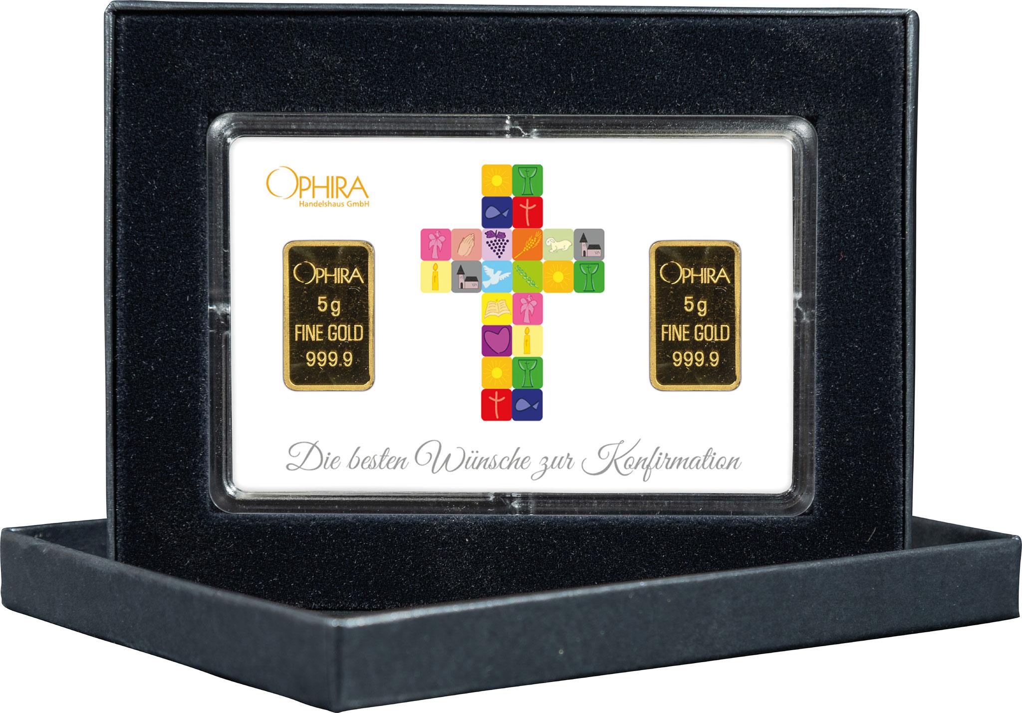 Geschenkbarren Konfirmation mit 2 Goldbarren in edlem Etui
