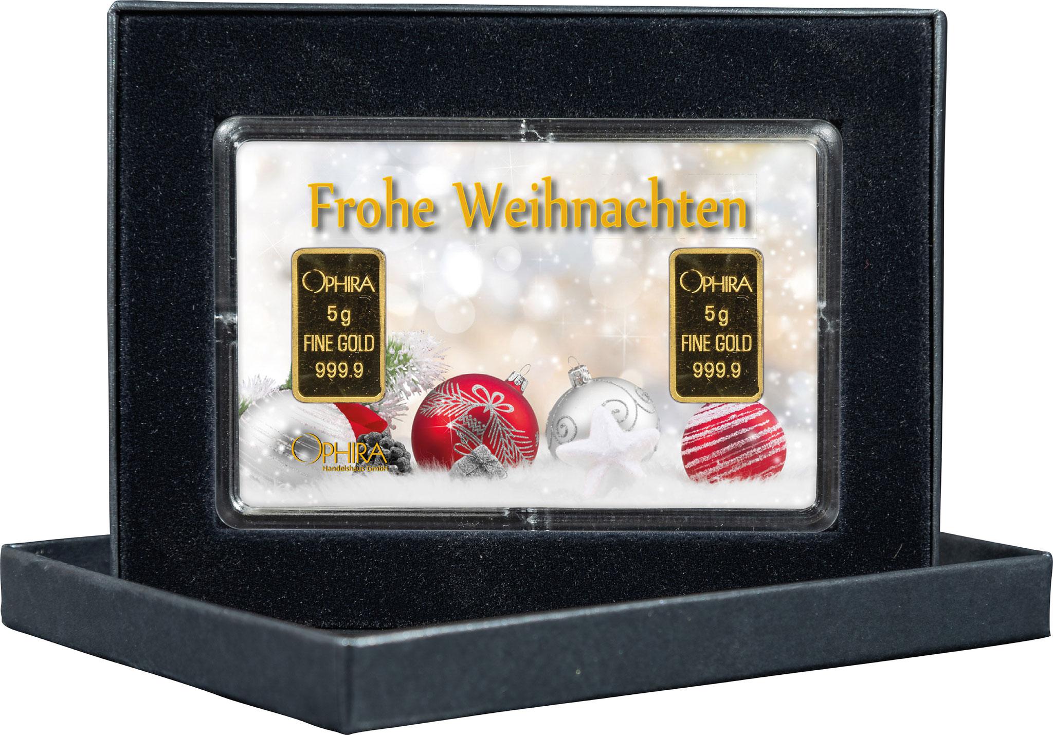 Geschenkbarren Weihnachten mit zwei Goldbarren in edlem Etui