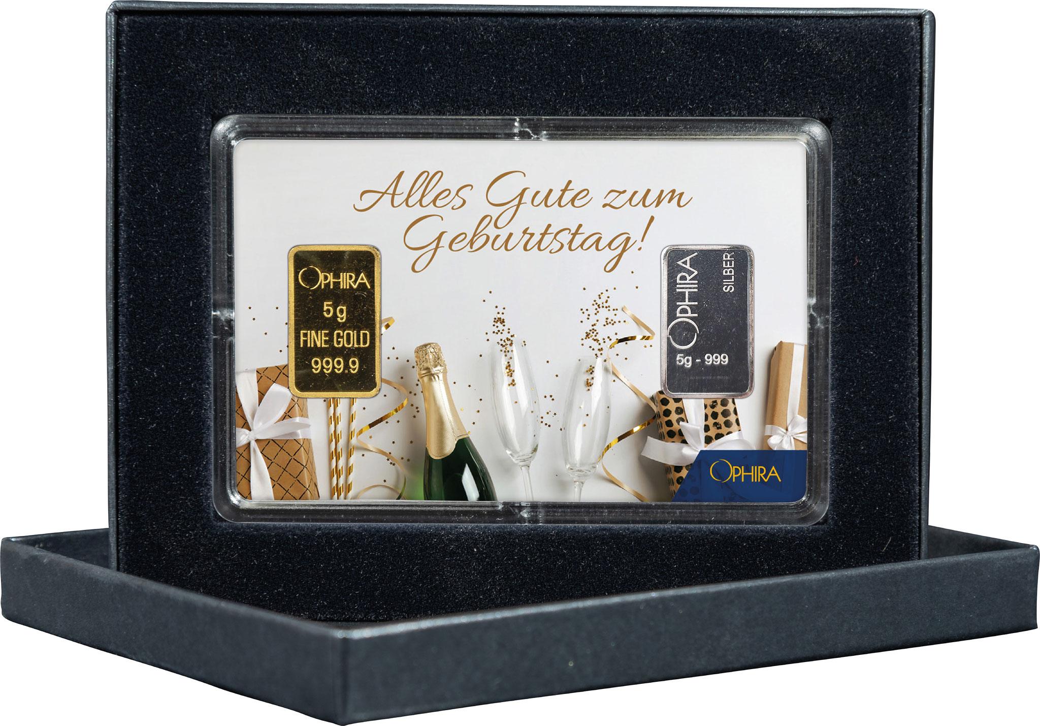 Geschenkbarren Geburtstag mit einem Gold- und Silberbarren in edlem Etui