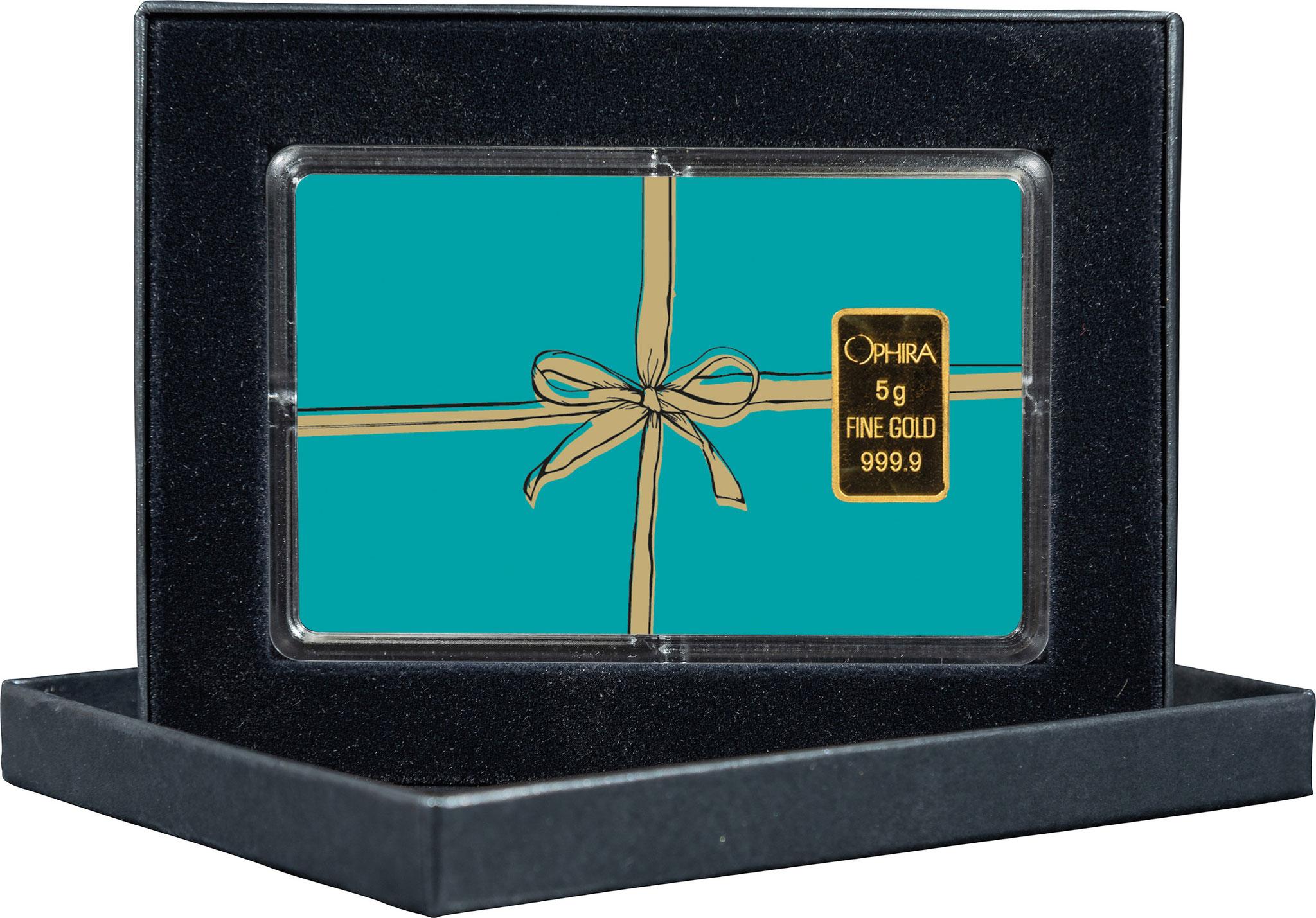 Geschenkbarren Farbe mit mit goldnem Band und einem Goldbarren in edlem Etui