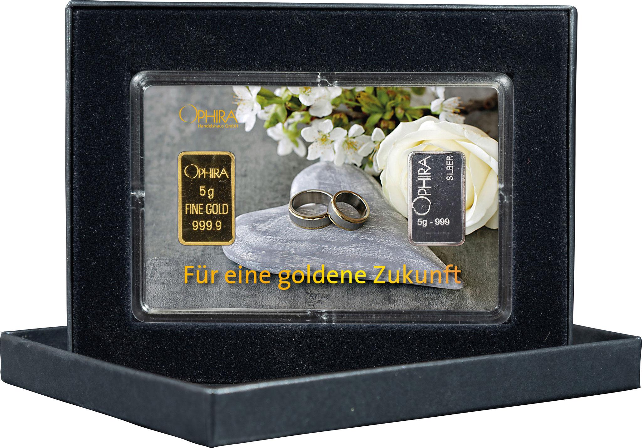 Geschenkbarren Hochzeit mit einem Gold- und Silberbarren in edlem Etui