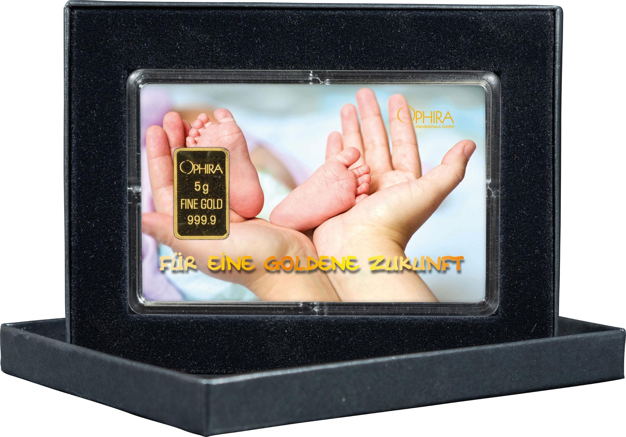 Geschenkbarren Geburt Taufe mit einem Goldbarren in edlem Etui