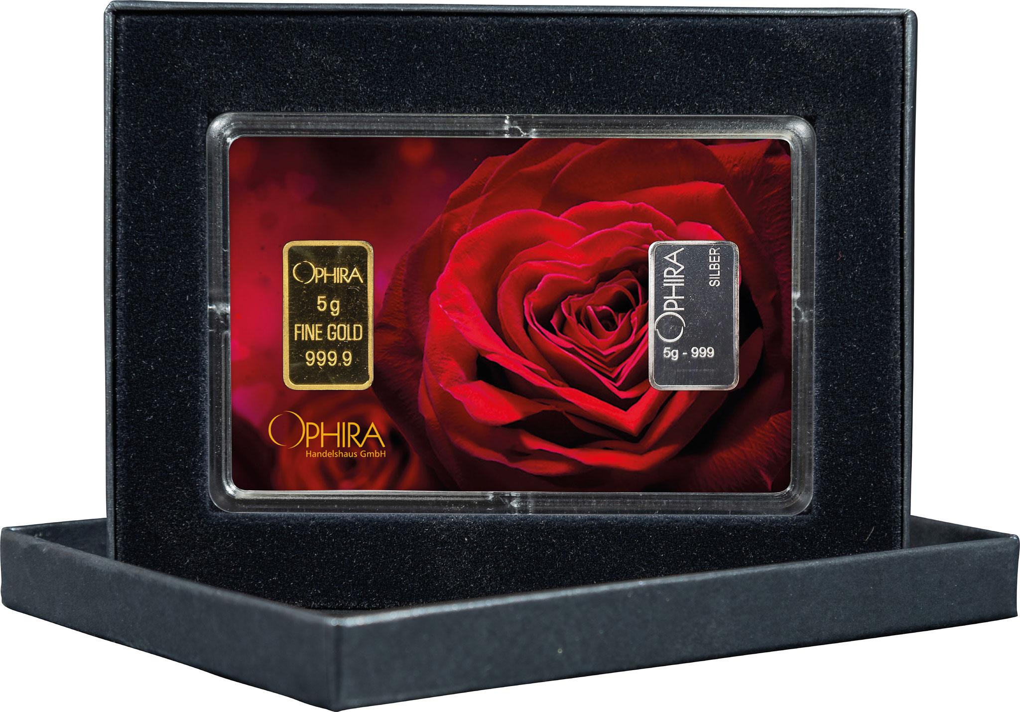 Geschenkbarren Valentinstag mit einem Gold- und Silberbarren in edlem Etui