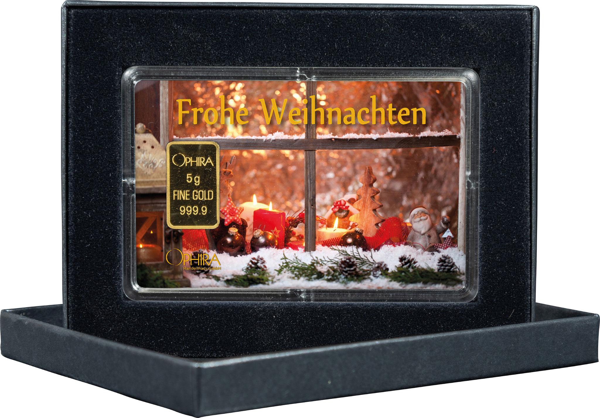 Geschenkbarren  Weihnachten mit einem Goldbarren in edlem Etui