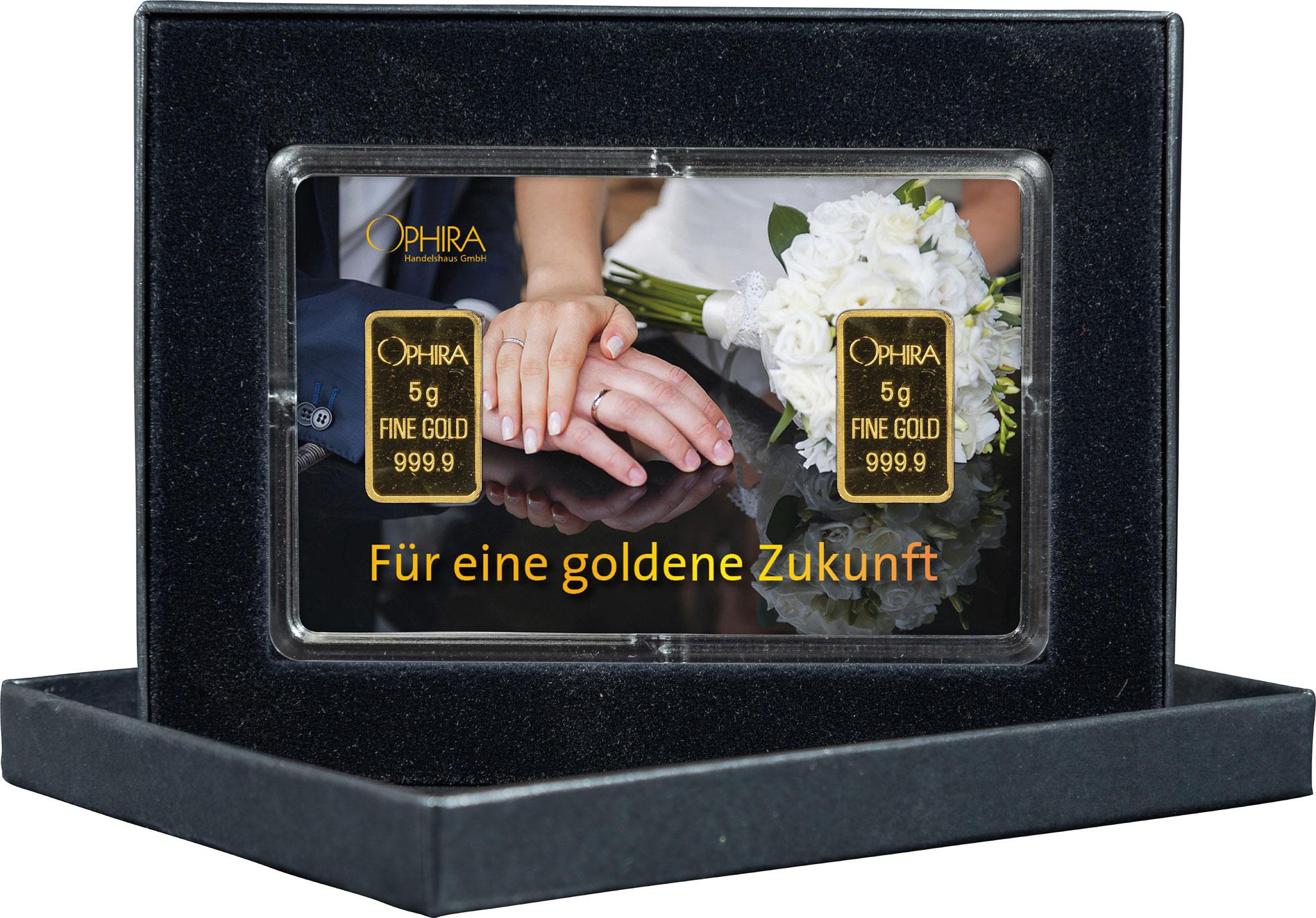 Geschenkbarren Hochzeit mit zwei Goldbarren in edlem Etui