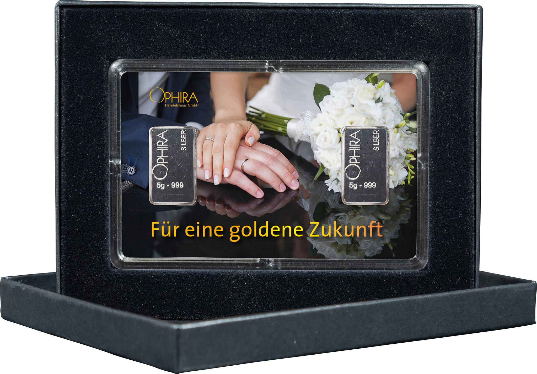 Geschenkbarren Hochzeit mit zwei Silberbarren in edlem Etui
