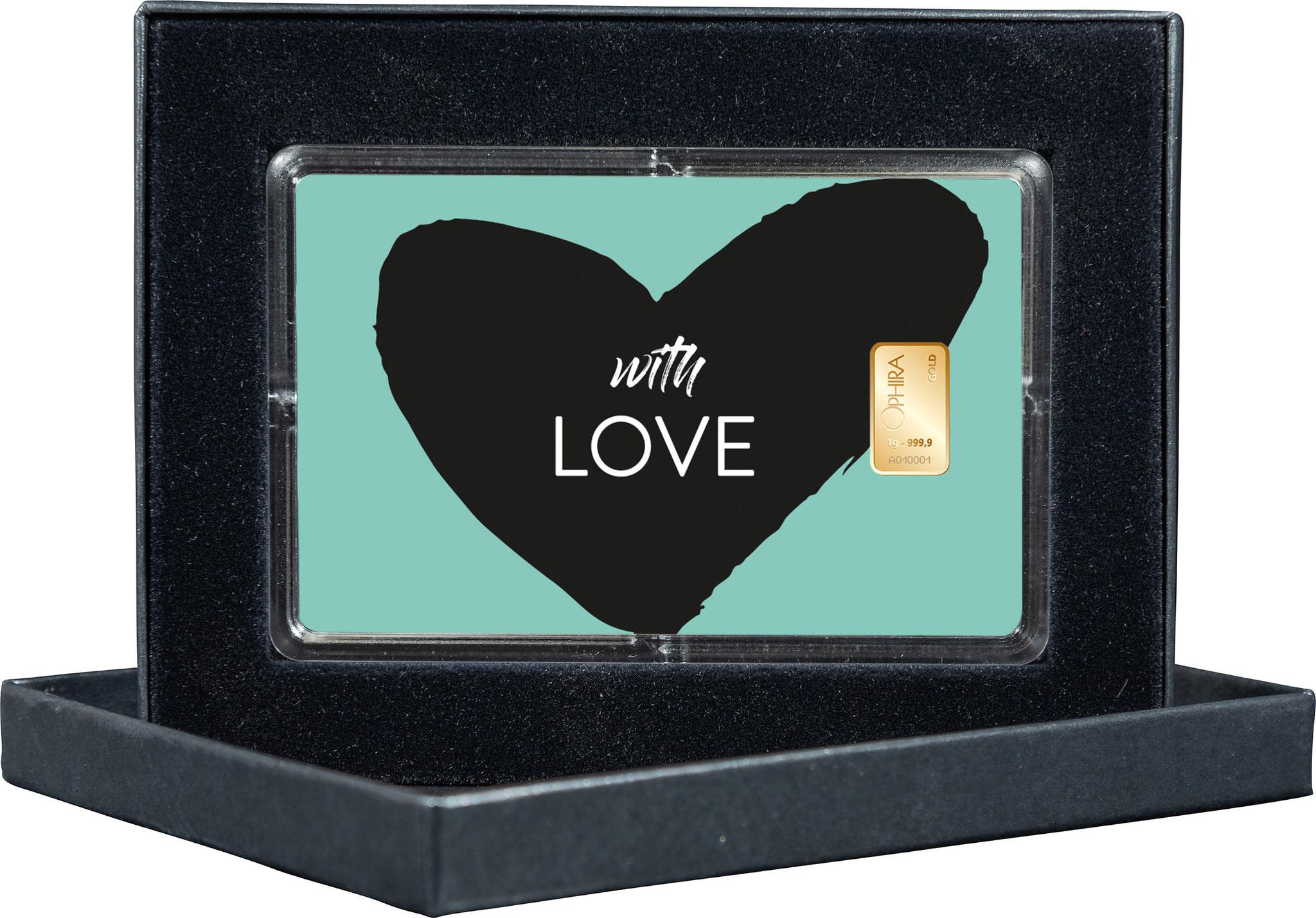 Geschenkbarren With Love mit einem Goldbarren und edlem Etui