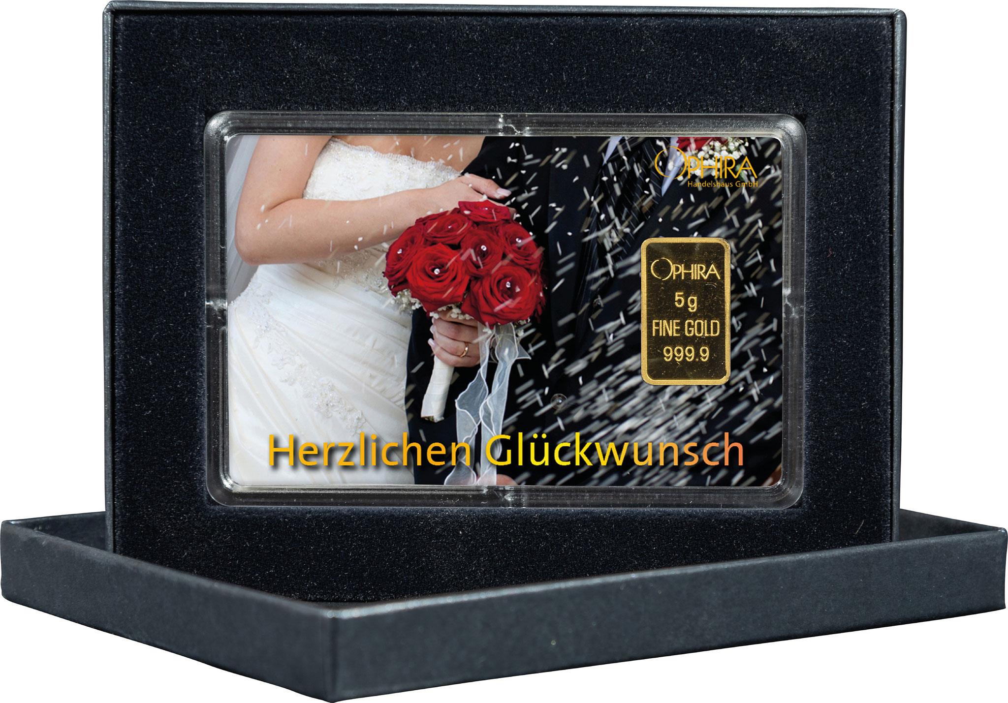 Geschenkbarren Hochzeit mit einem Goldbarren in edlem Etui