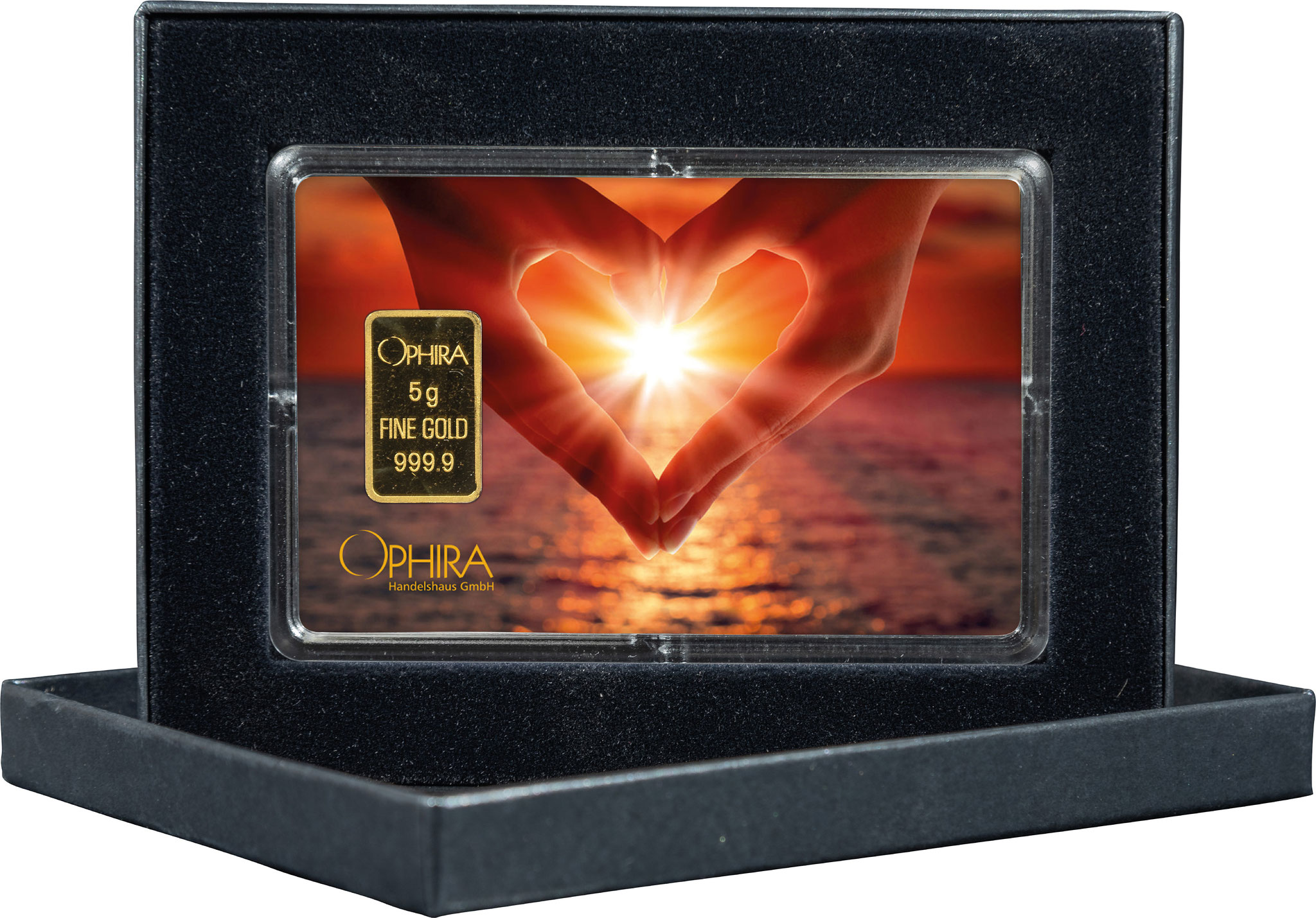 Geschenkbarren Valentinstag mit einem Goldbarren in edlem Etui