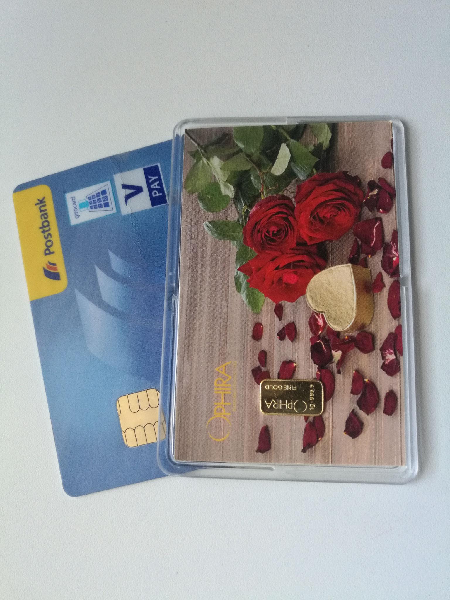 Größenvergleich Motivbarren Geschenkbarren Motivbarren und Bankkarte