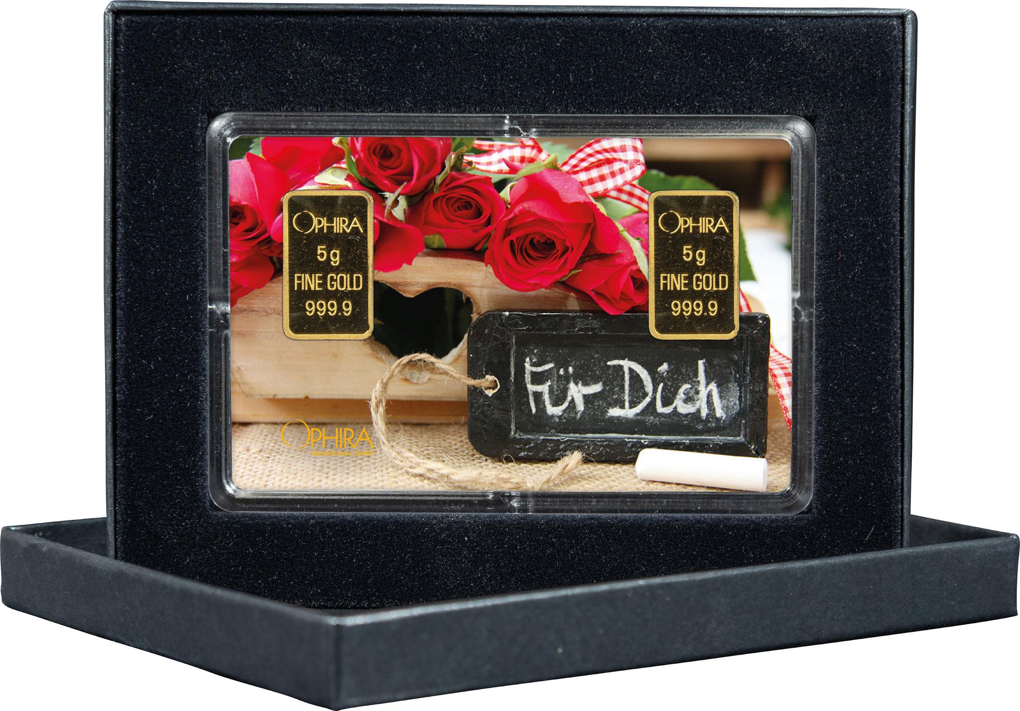 Geschenkbarren Valentinstag Geburtstag Muttertag mit  zwei Goldbarren in edlem Etui