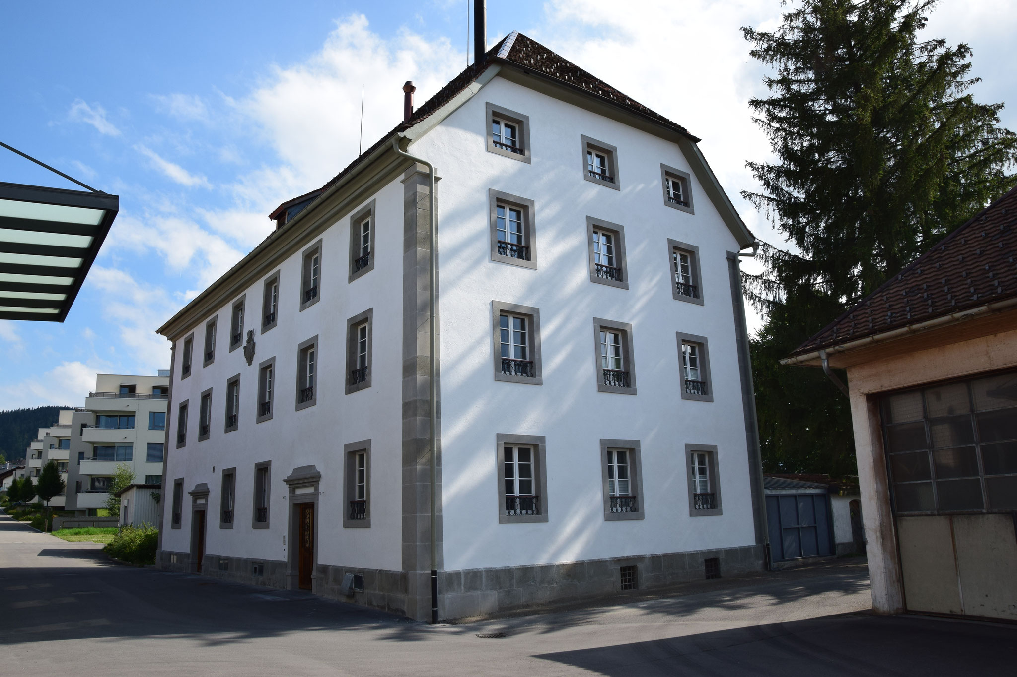 """Haus Klostermühle mit seinem fertigen """"al fresco"""" Fassadenputz"""