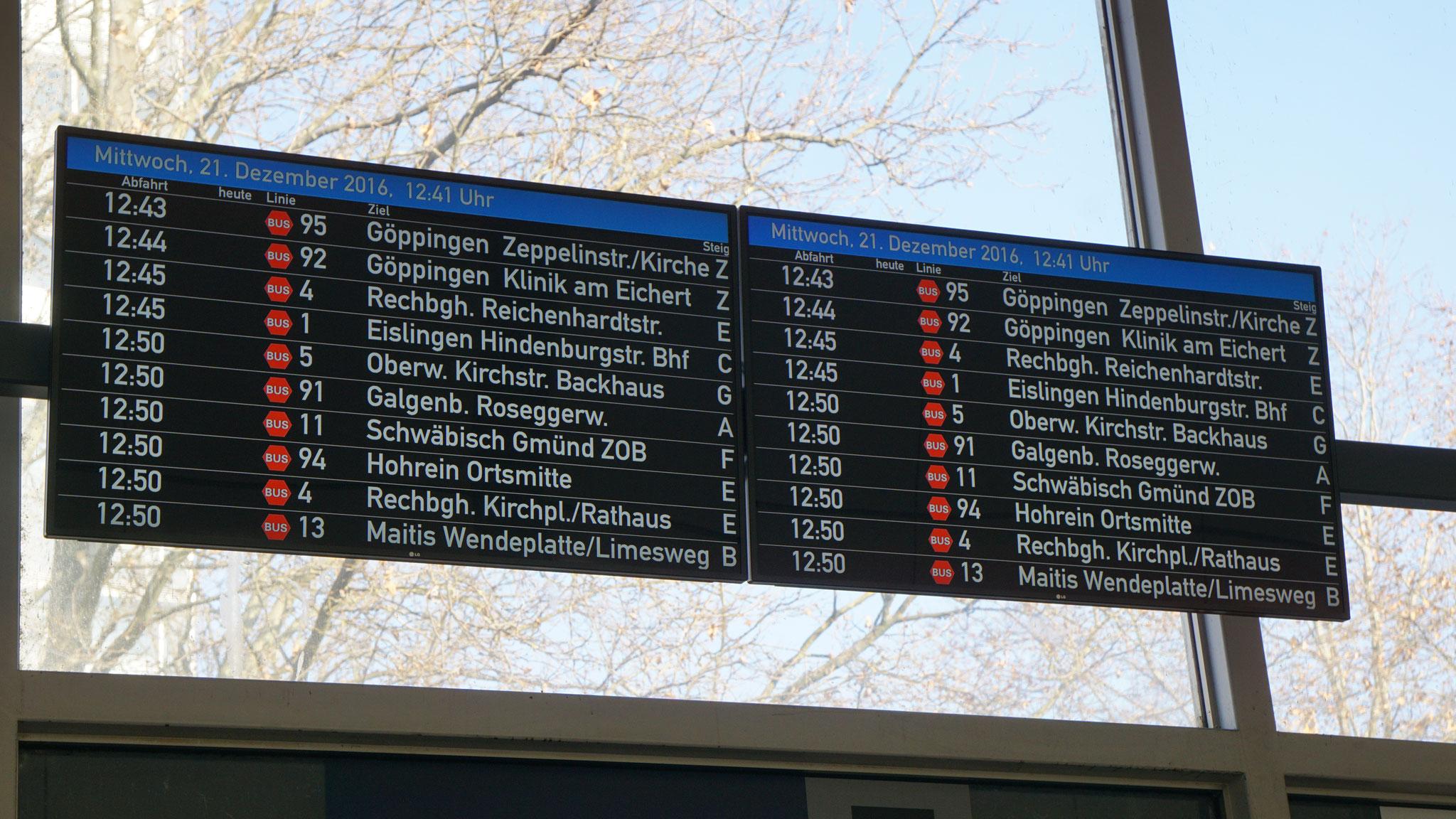 Übersichtsanzeiger Bahnhof Göppingen