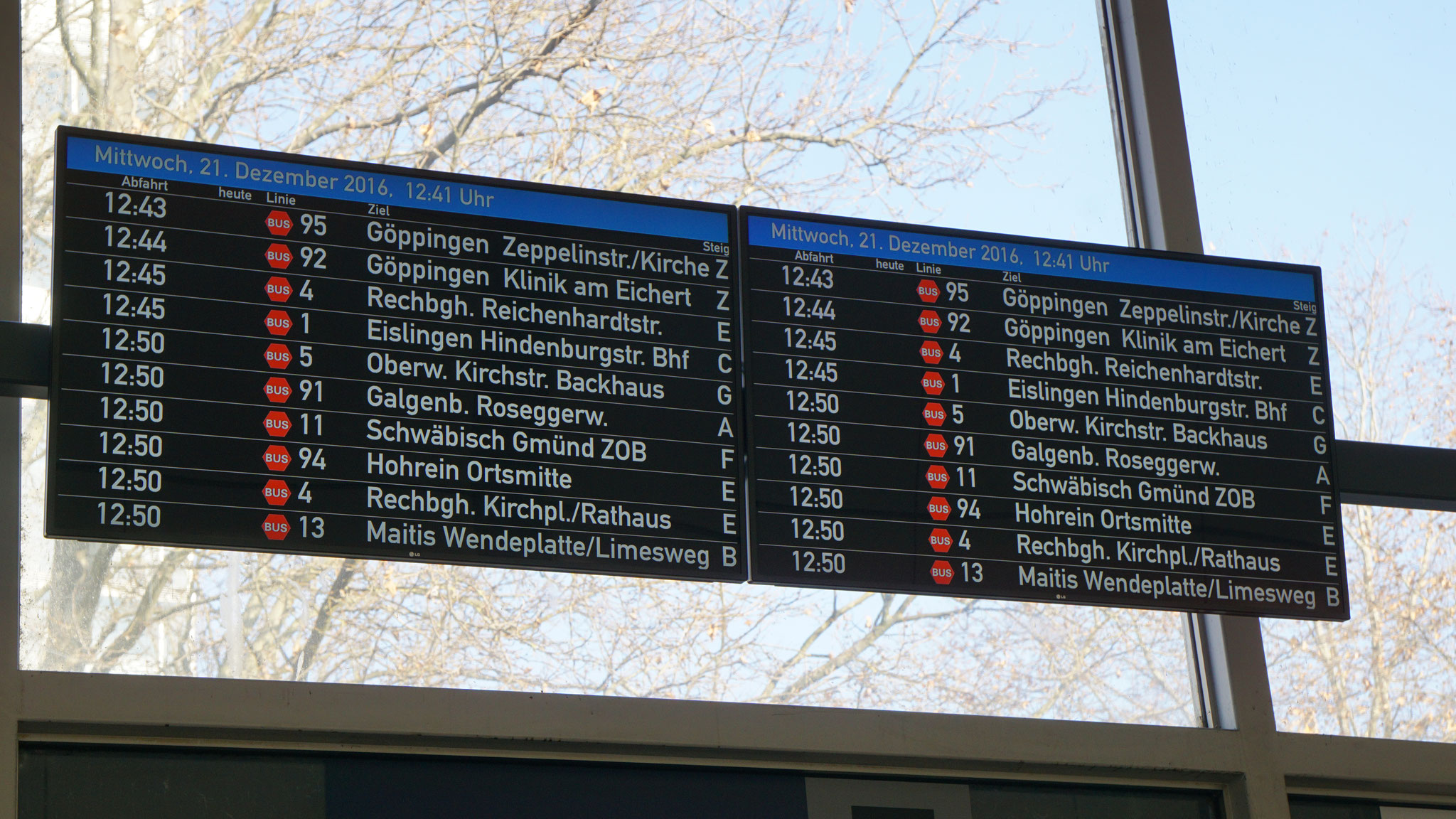 Overview display at the railway station Göppingen