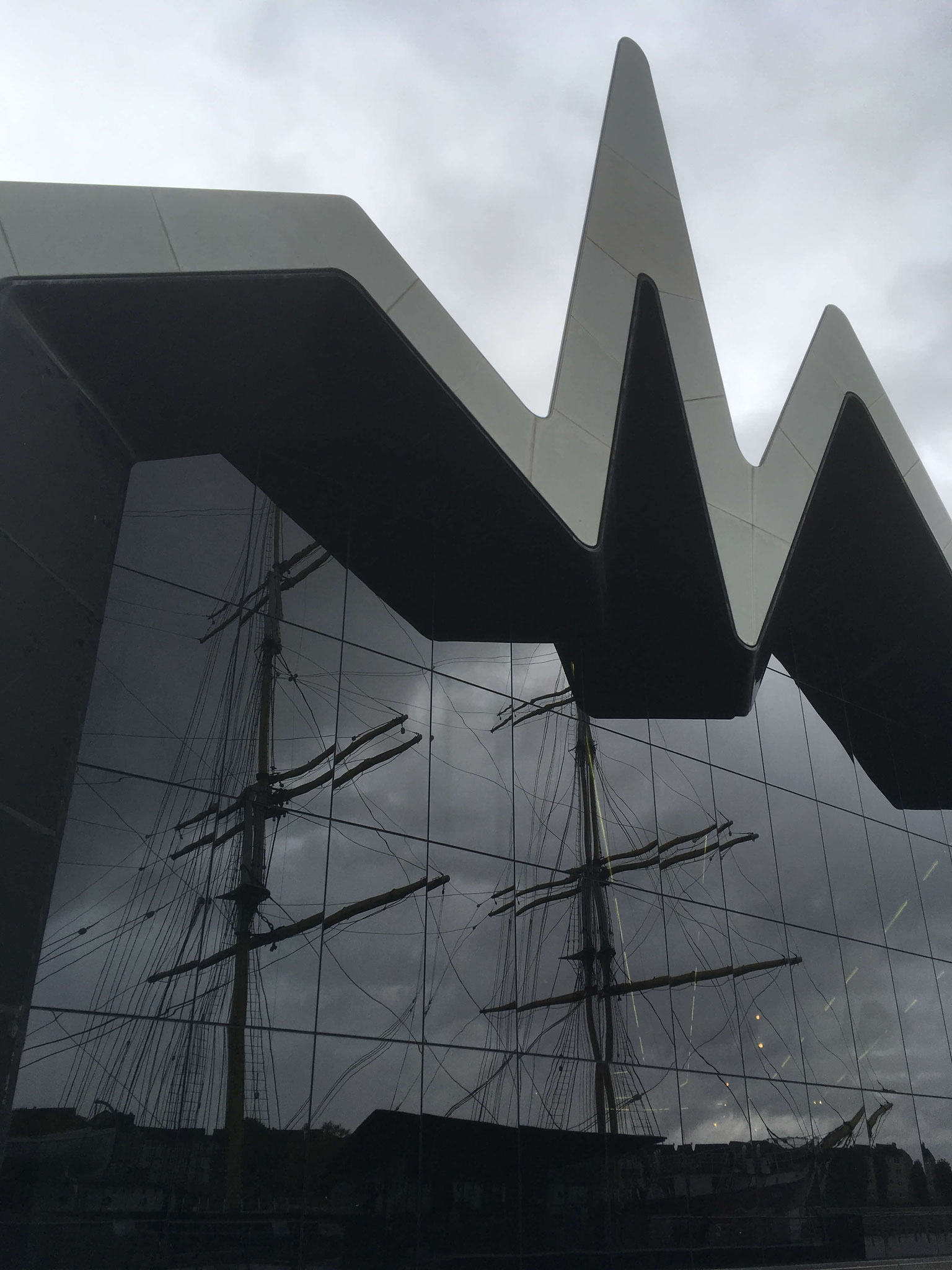 Glenlee reflection in the windows of the Riverside Museum Glasgow