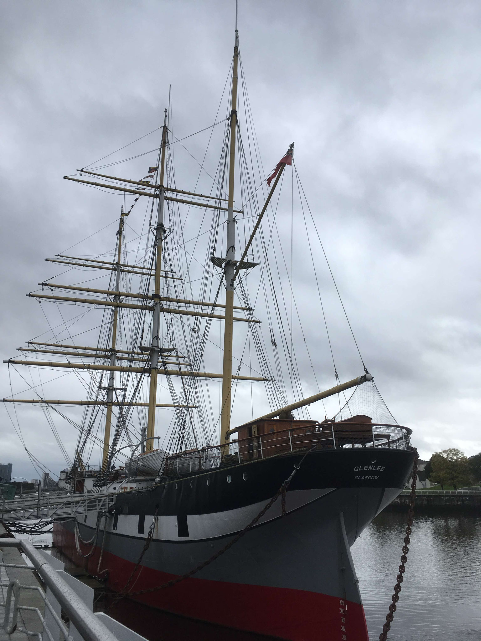 The tall ship Glenlee on the river Clyde in Glasgow
