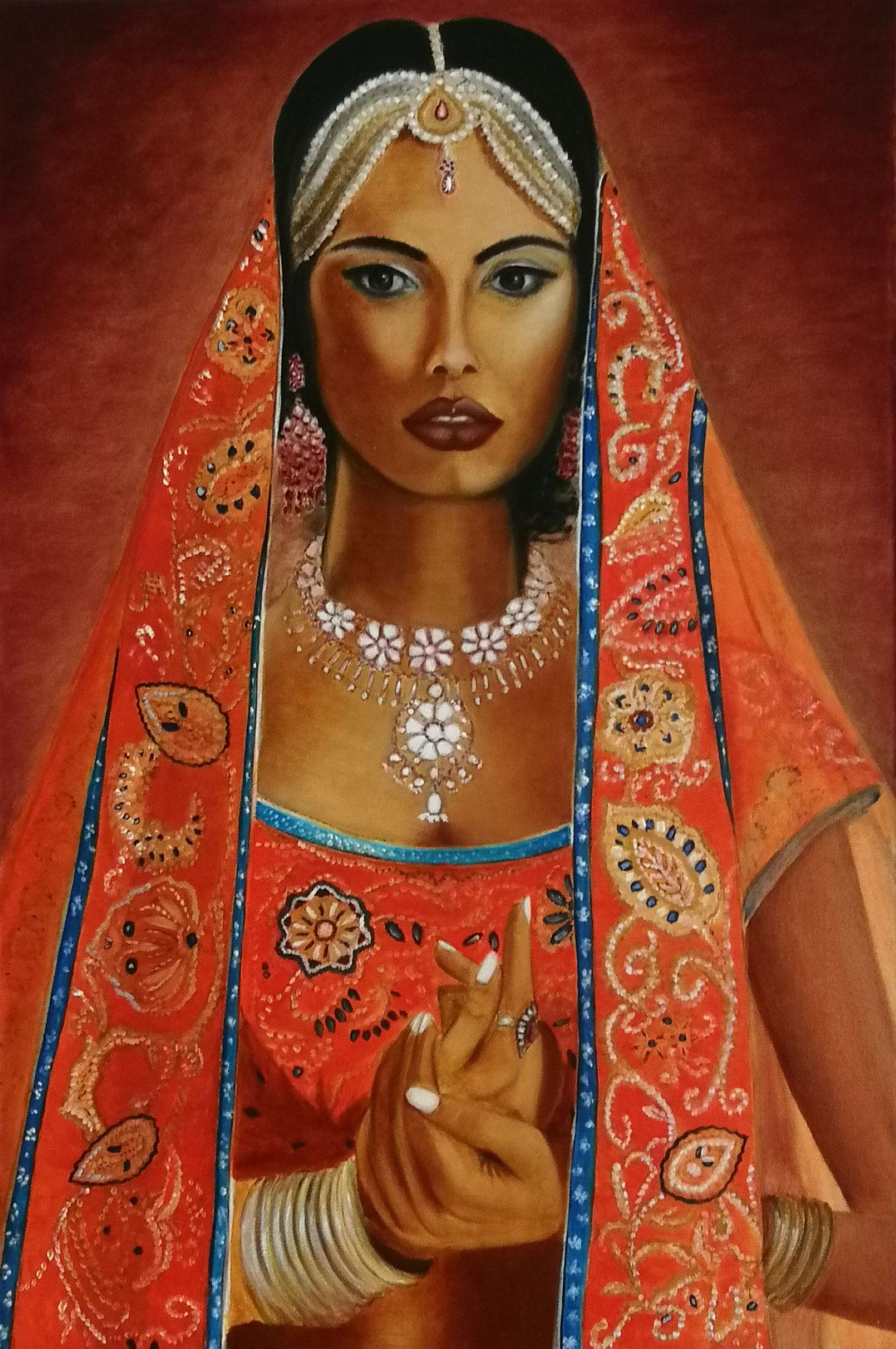 """Indian Beauty"" -  oil, canvas 60х40, varnish, 2017. Exhibition ""Sensuality"" Tongeren August 2018"