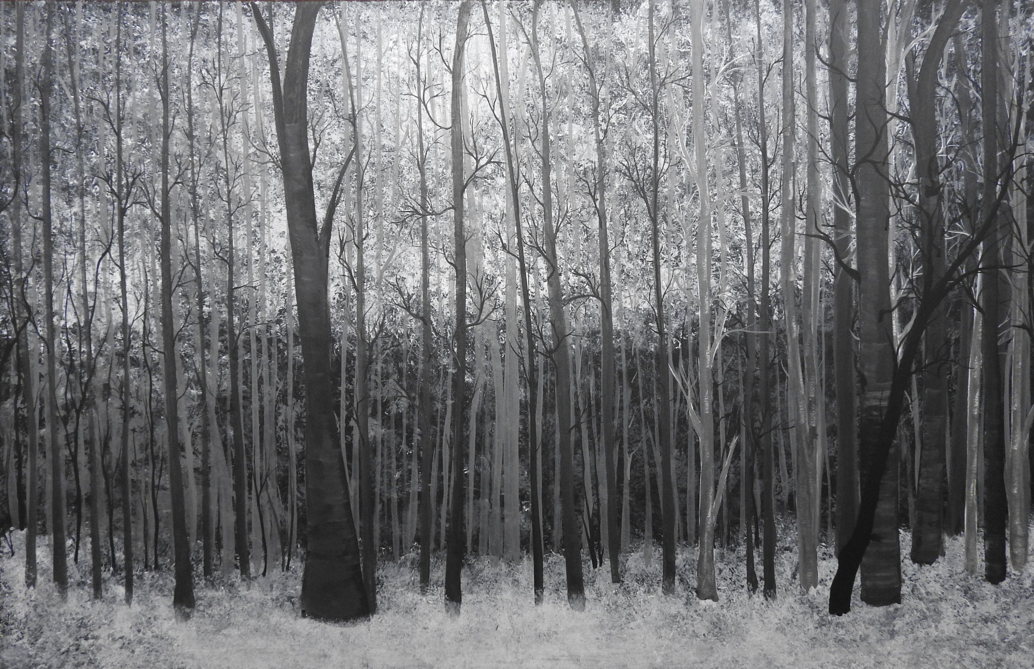 """Black and white... forest"" -  acrylic, canvas 75Х115, 2016"