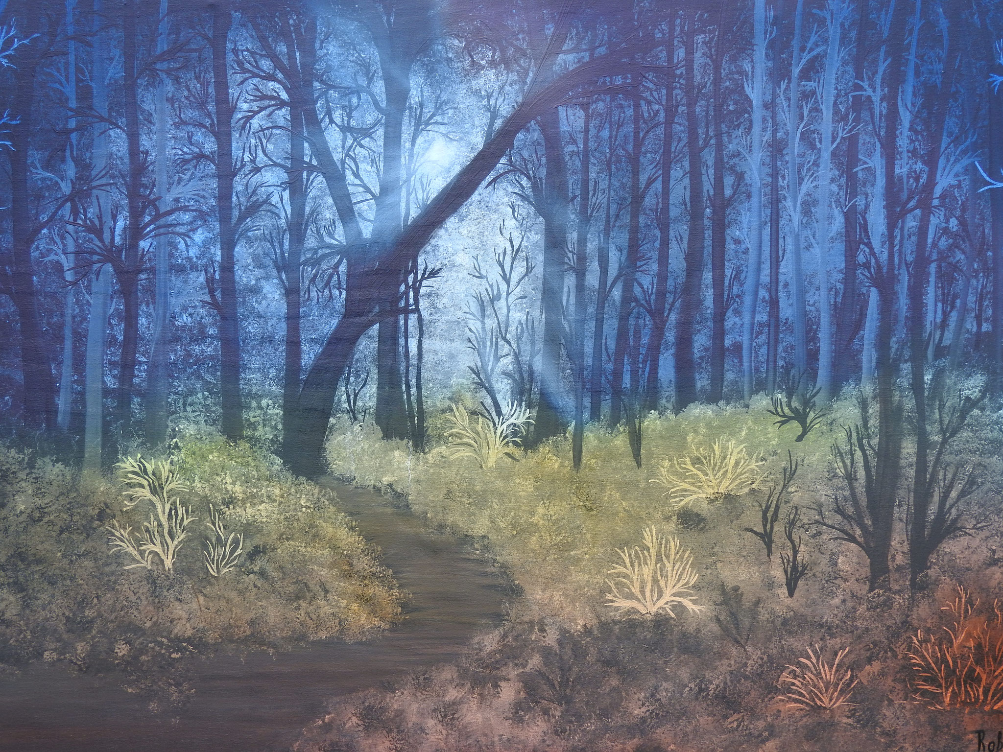 """""""Mystical forest"""" - acrylic, oil, canvas 75Х115, 2016, Private collection in Holland"""