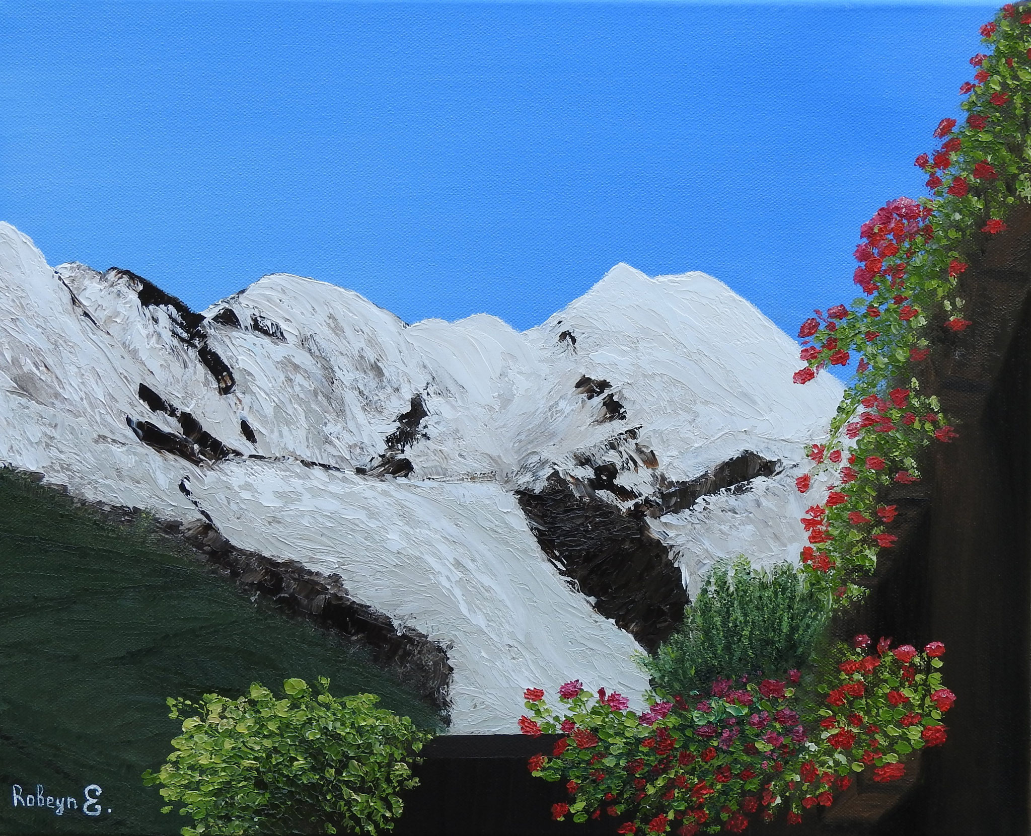 """Flowers and snowy mountains"" - oil, canvas 40Х50, 2016"
