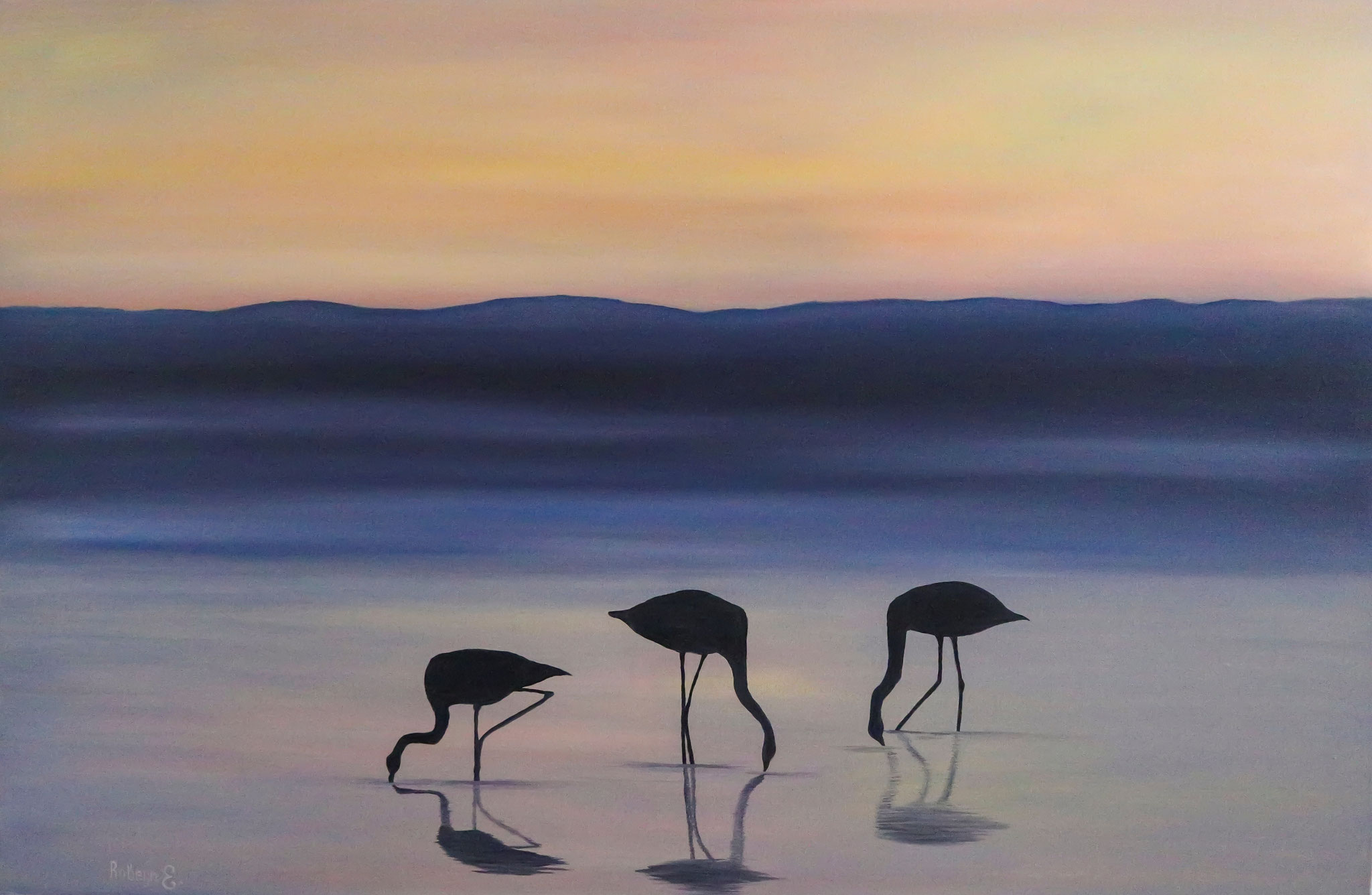 """""""Flamingo and sunset""""  - oil, canvas 75x115, 2016, Private collection HONG Kong"""