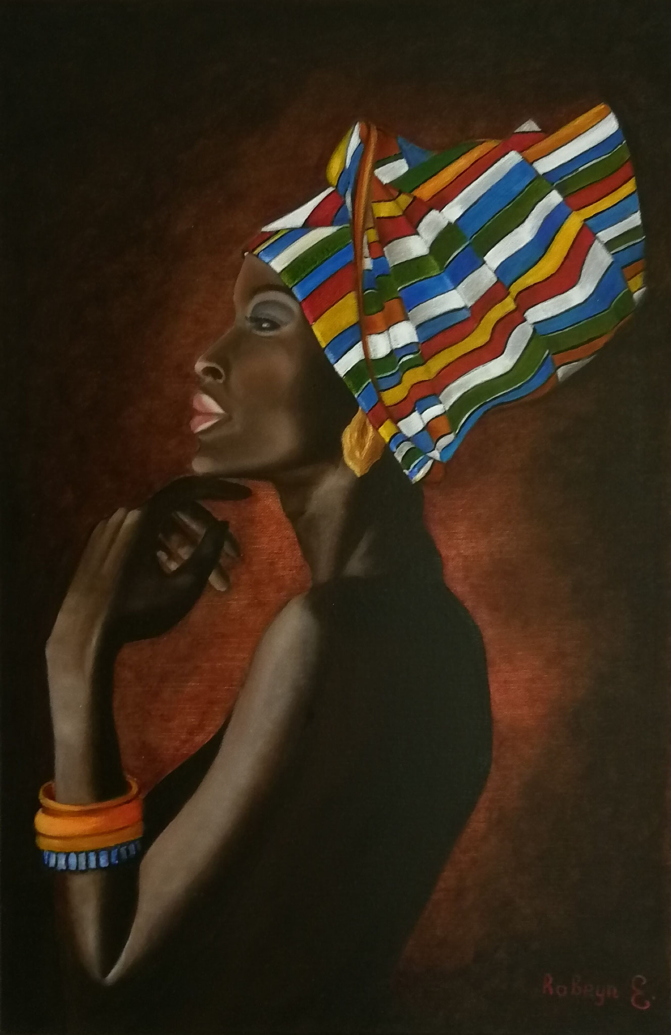 """African Beauty"" -  oil, canvas 60х40, varnish, 2017. Exhibition ""Sensuality"" Tongeren August 2018"