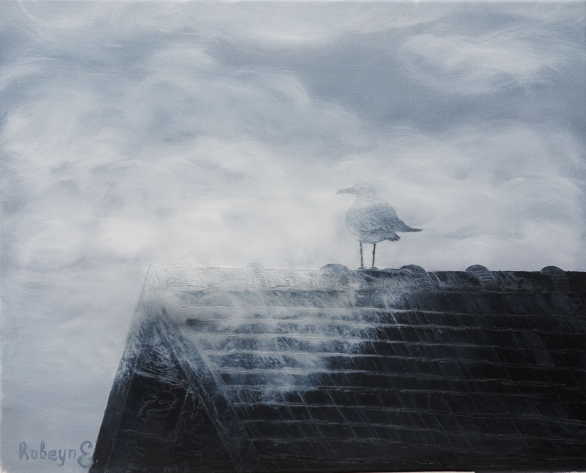 """Gull on the roof, fog :)"" - oil, canvas 40Х50, 2016"