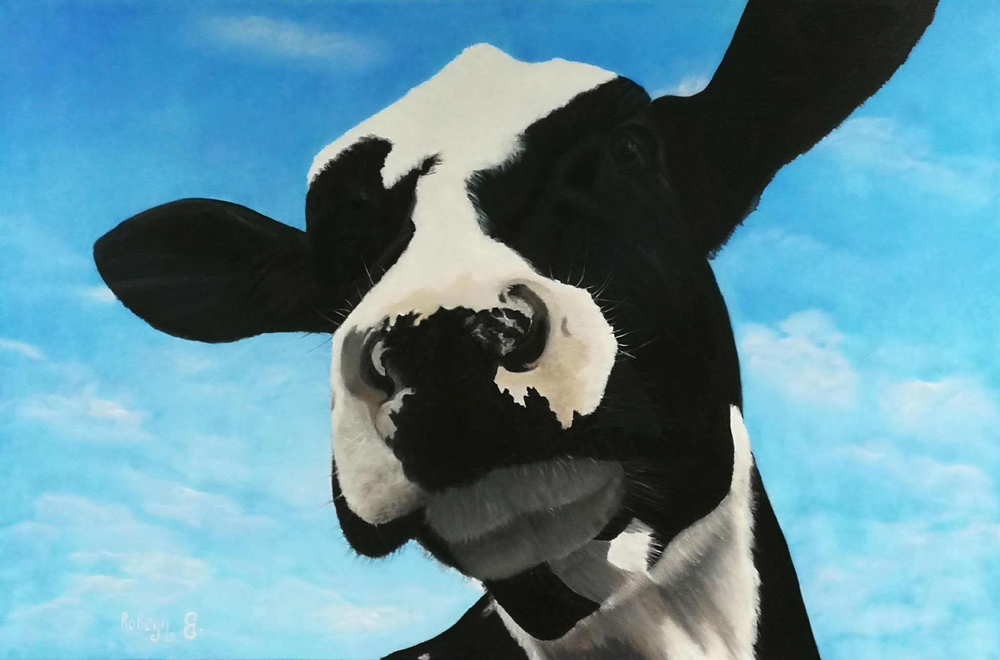 """One curious cow;)"" - oil, canvas 120x80, 2017"