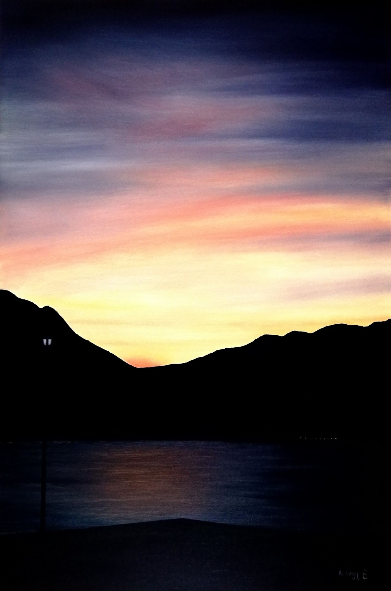 """Sunset_Lake Iseo Italy""- oil, canvas 120Х80"
