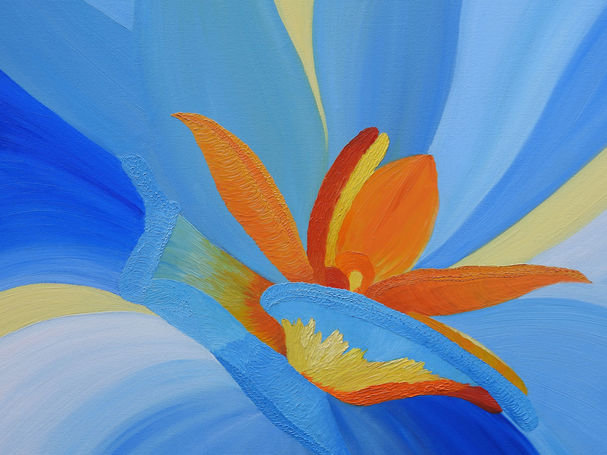 """""""The middle of a bright flower"""" - оil in pasty technique, canvas 60x80, 2016"""