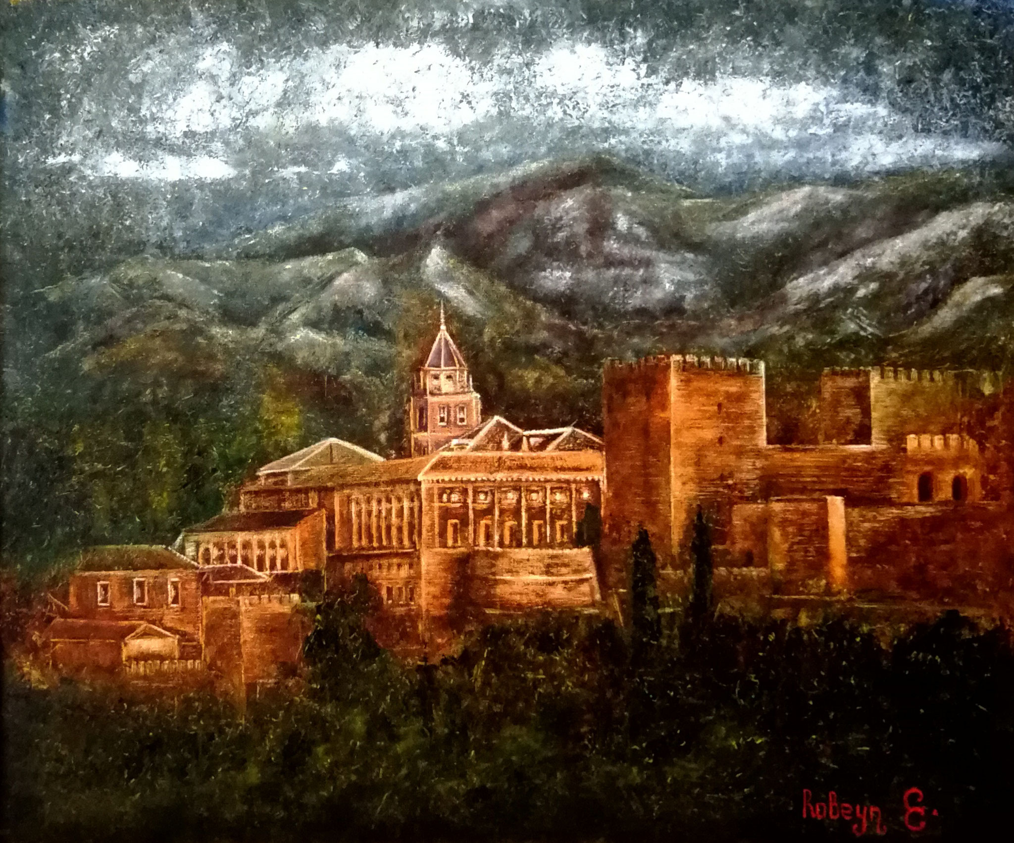 """Alhambra Granada"" - oil, canvas 60x50, 2018.  Inspired by the architecture of Granada"