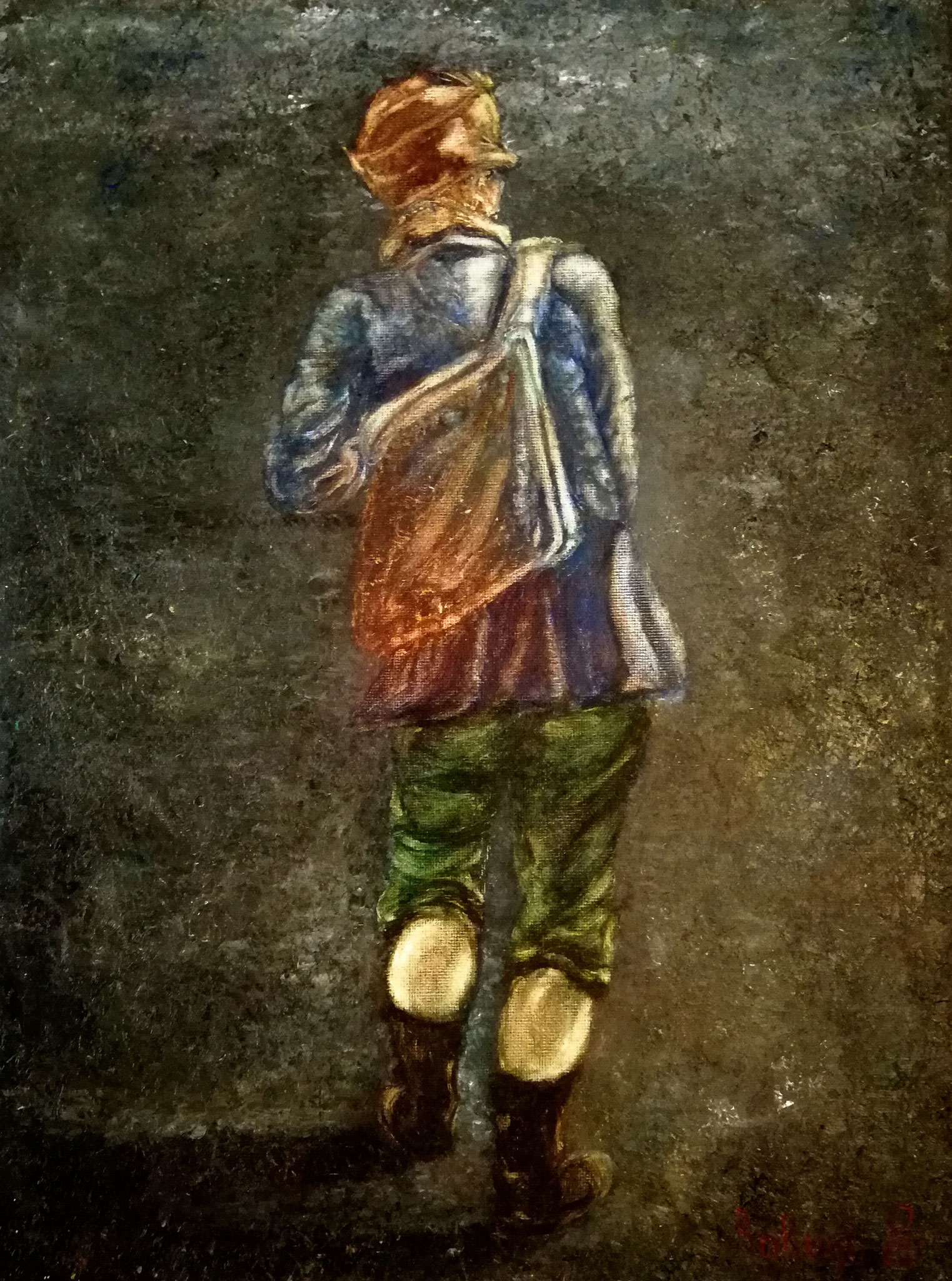 """""""The Walking Boy"""" - oil, canvas 40x30, 2018. Inspered by the drawings of Holland old masters...made in modern oil painting techniques. International Art Exhibition in Bruges Belfort July 2018, Private collection Moscow"""