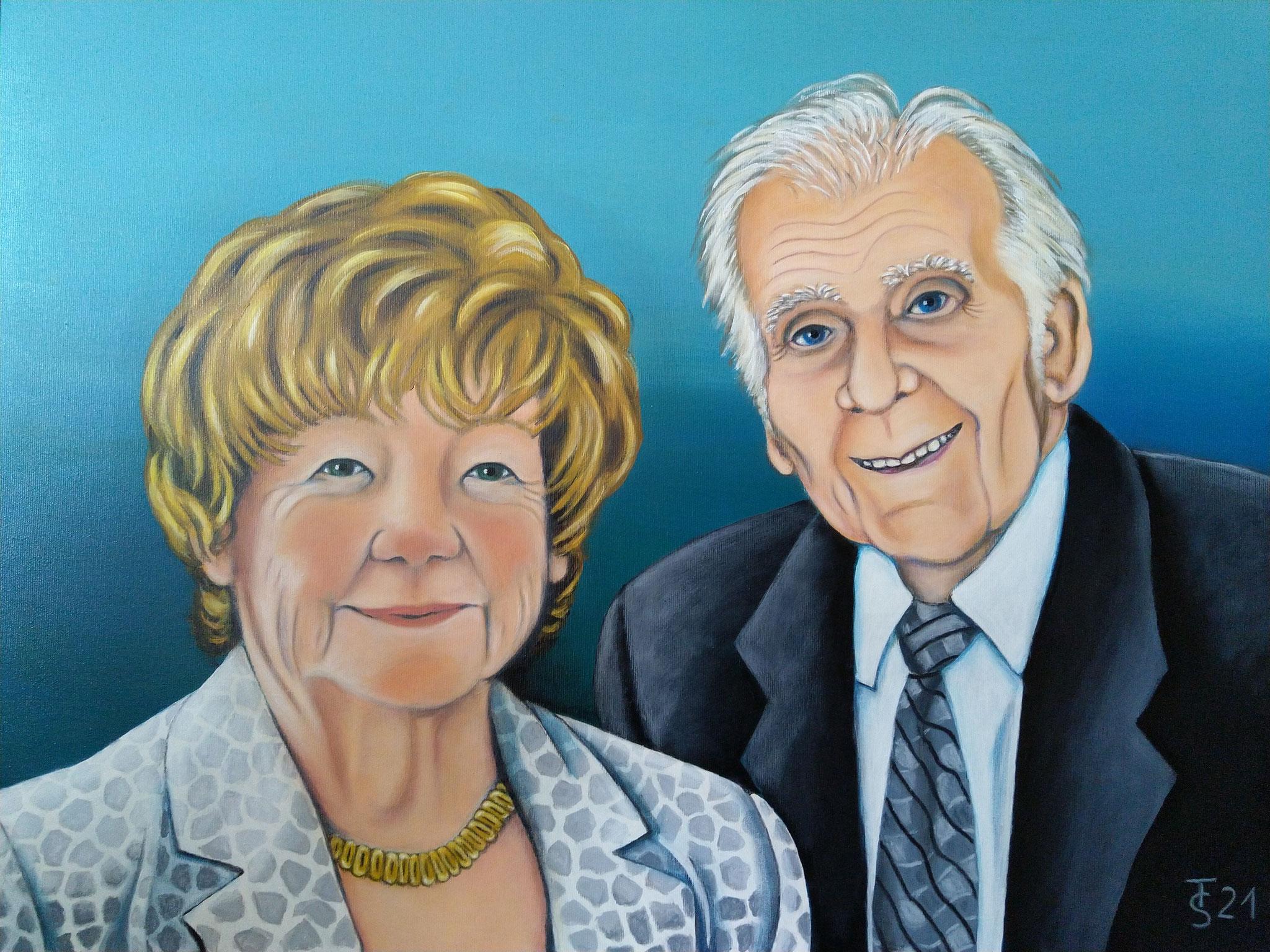 Nicoles Großeltern _  (Acryl auf Leinwand, 80 x 60 cm)