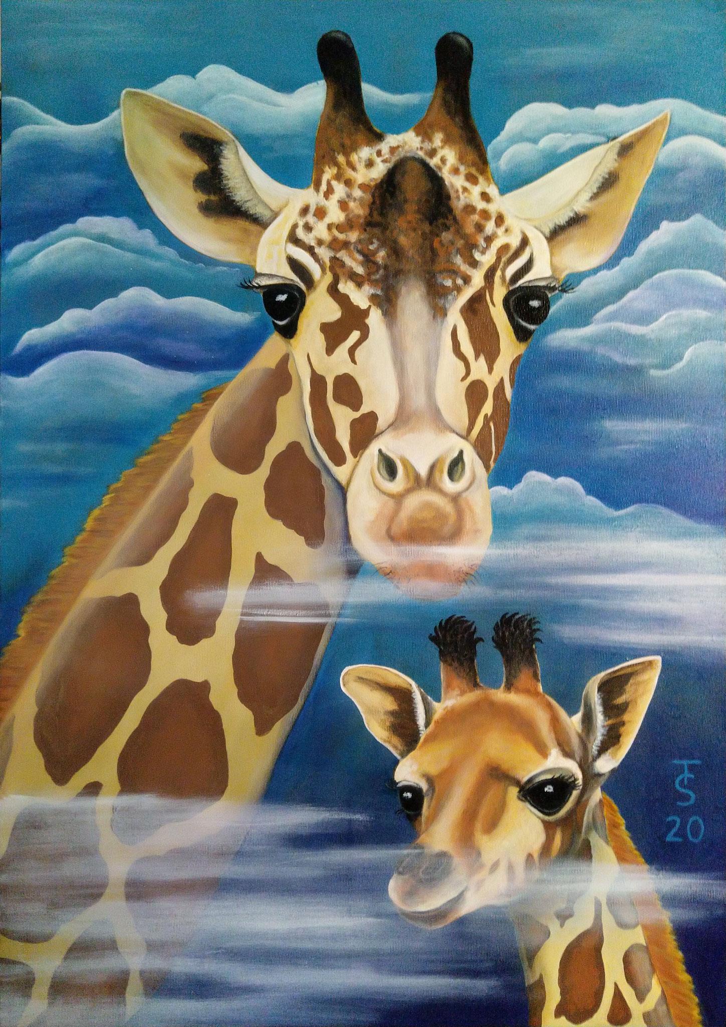 Giraffen-Weitblick _ (Acryl auf Leinwand, 70 x 100 cm)